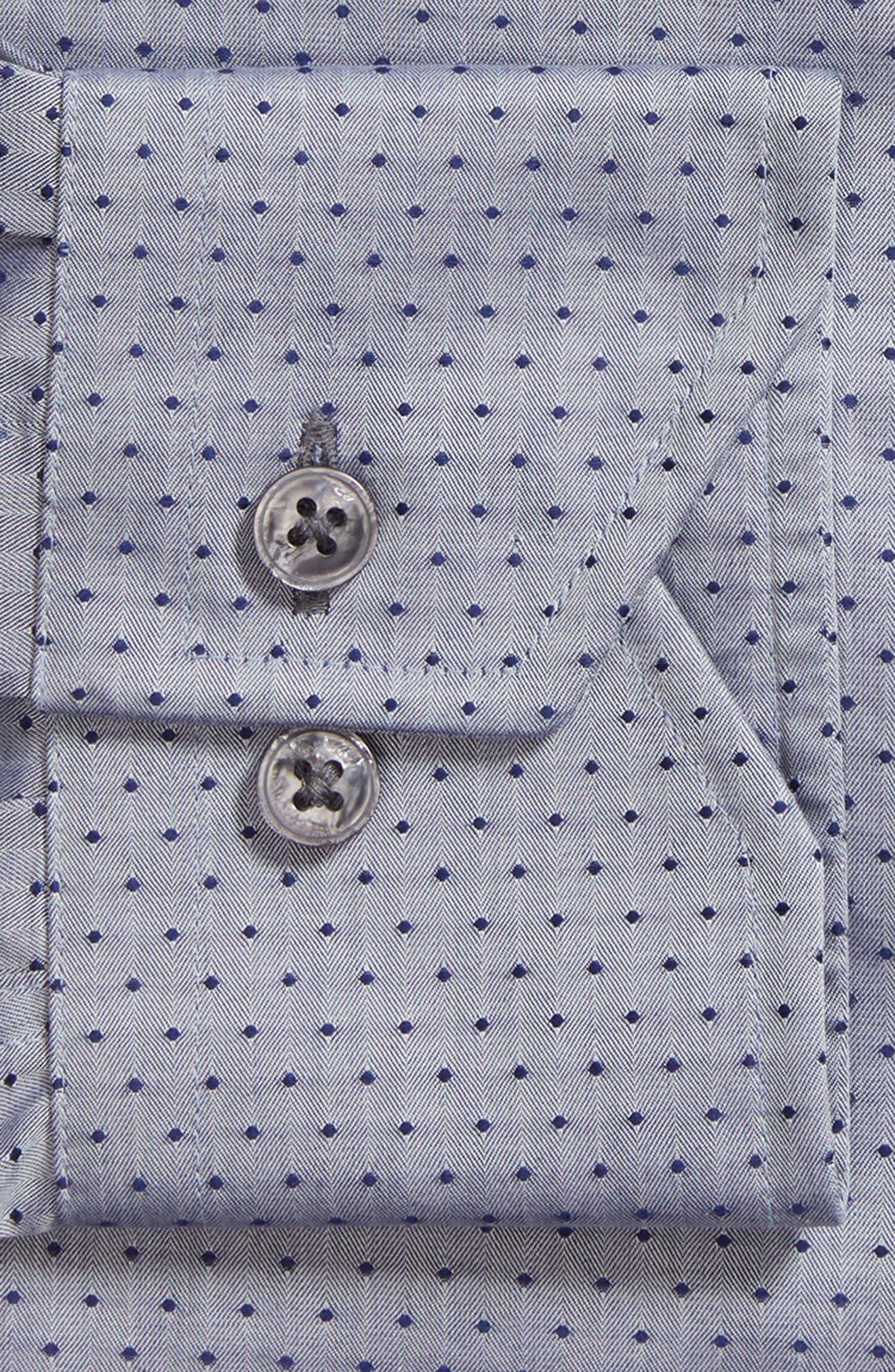 Pin Dot Dress Shirt,                             Alternate thumbnail 6, color,                             NAVY/ GREY