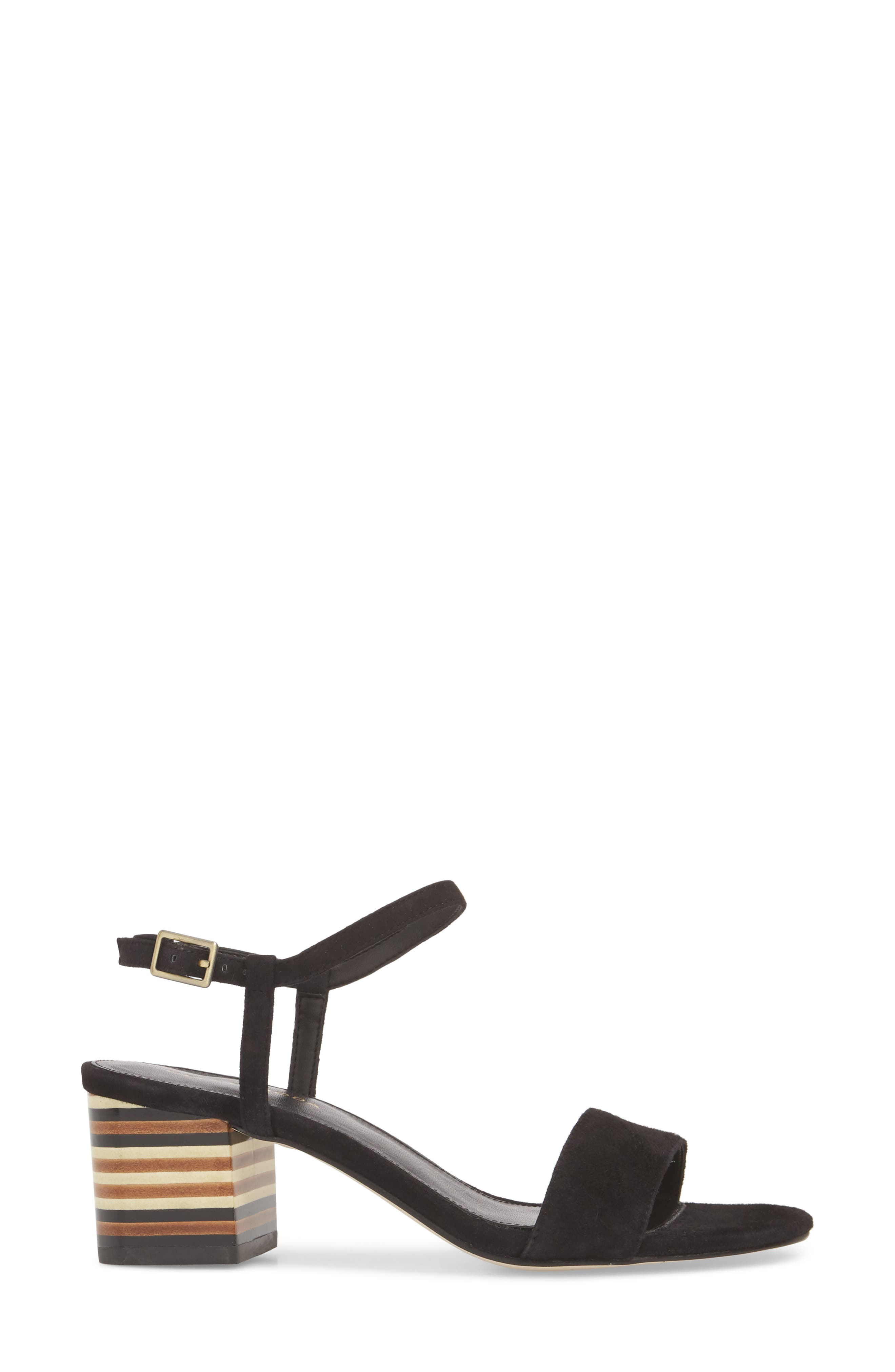 Alicia Block Heel Sandal,                             Alternate thumbnail 3, color,                             BLACK SUEDE