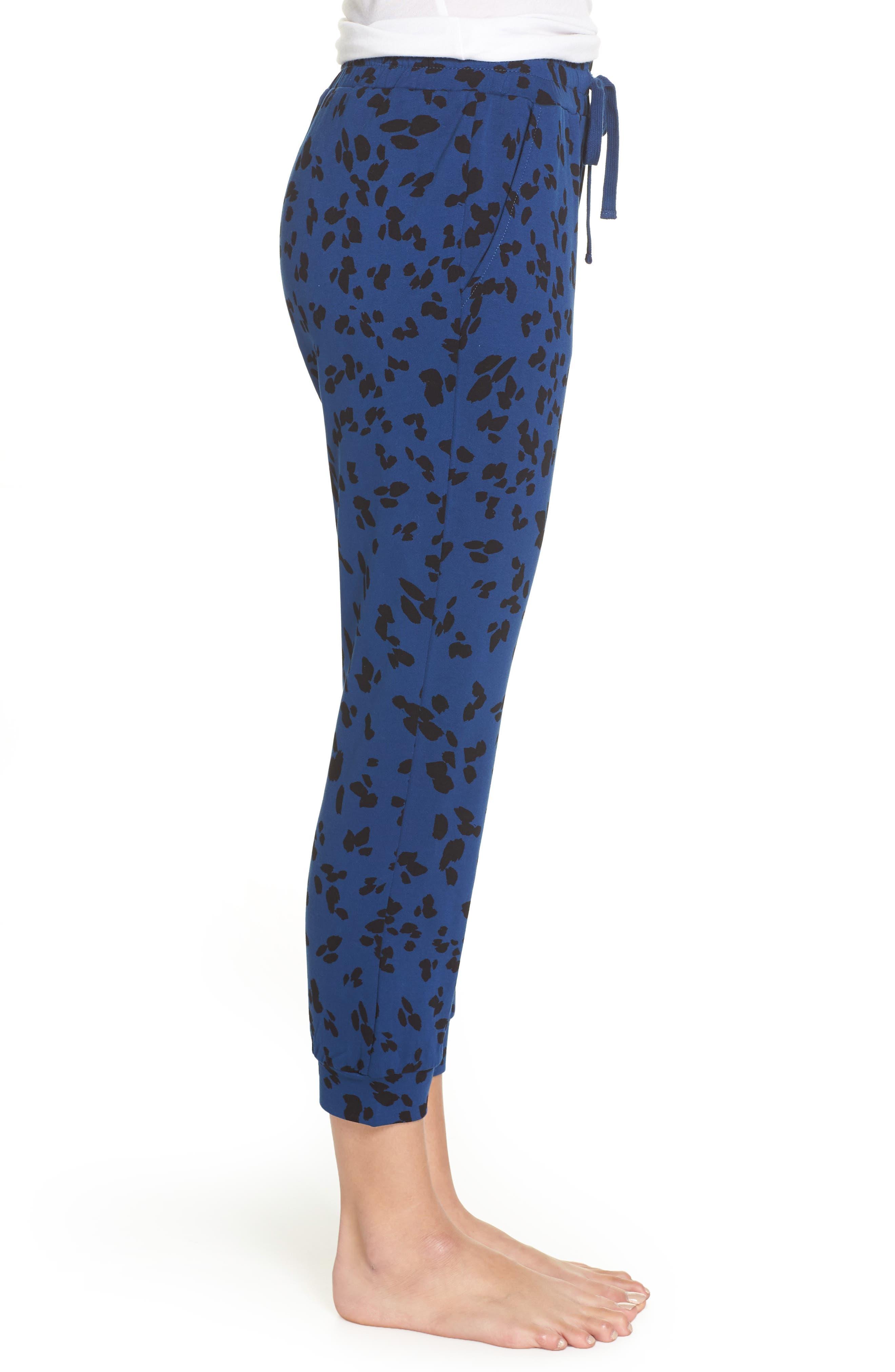 Totally Trending Leopard Print Jogger Pants,                             Alternate thumbnail 3, color,                             MARINE