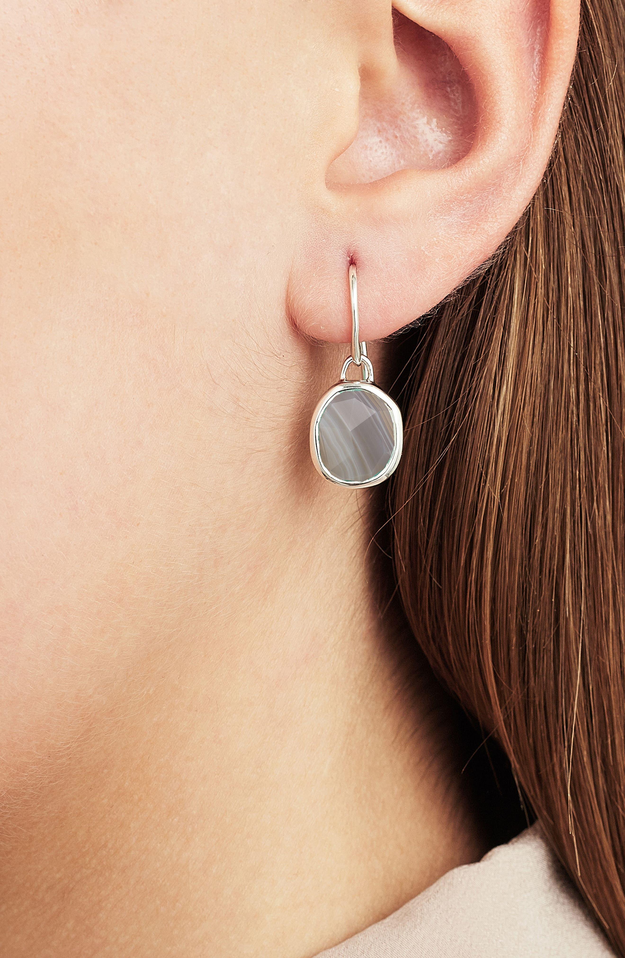 Siren Semiprecious Stone Drop Earrings,                             Alternate thumbnail 2, color,                             SILVER/ GREY AGATE