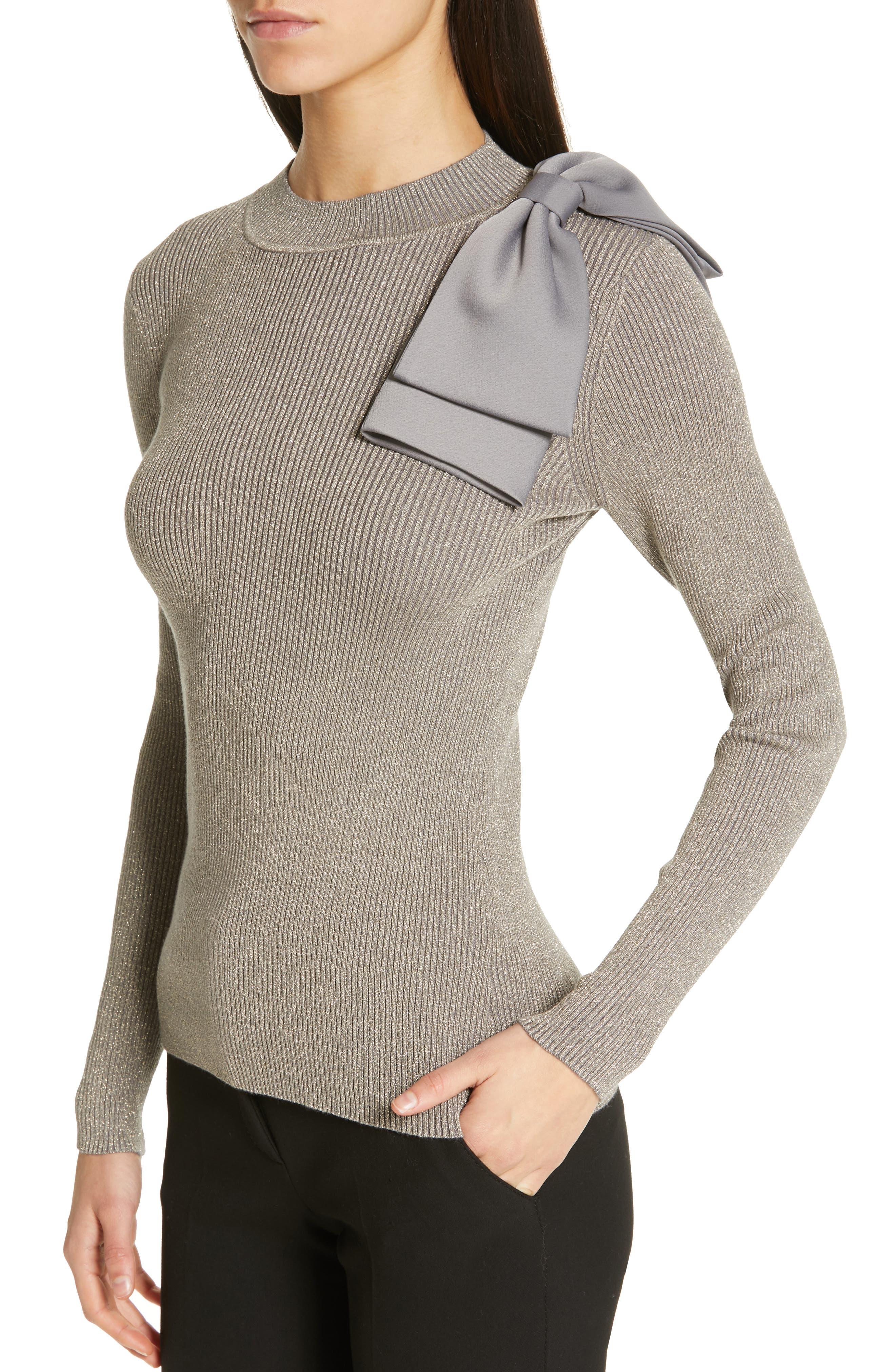Saaydie Bow Trim Metallic Sweater,                             Alternate thumbnail 4, color,                             CHARCOAL