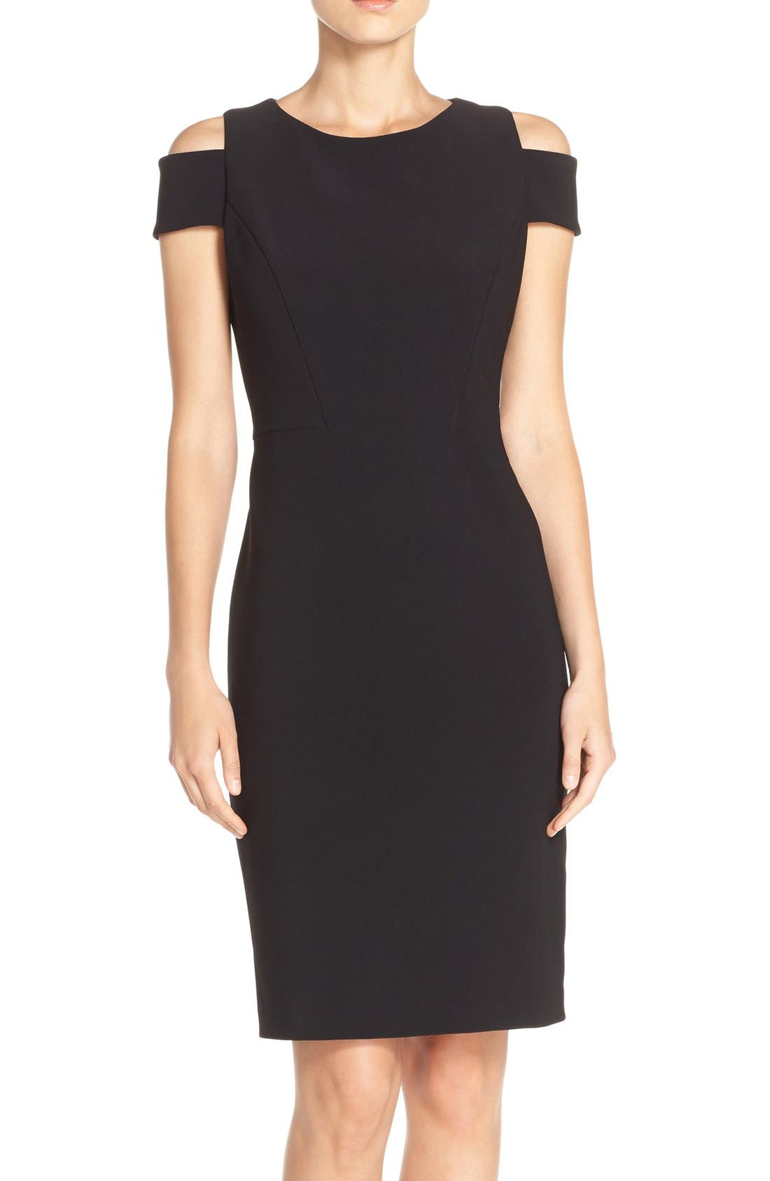 Cold Shoulder Crepe Sheath Dress,                             Main thumbnail 1, color,