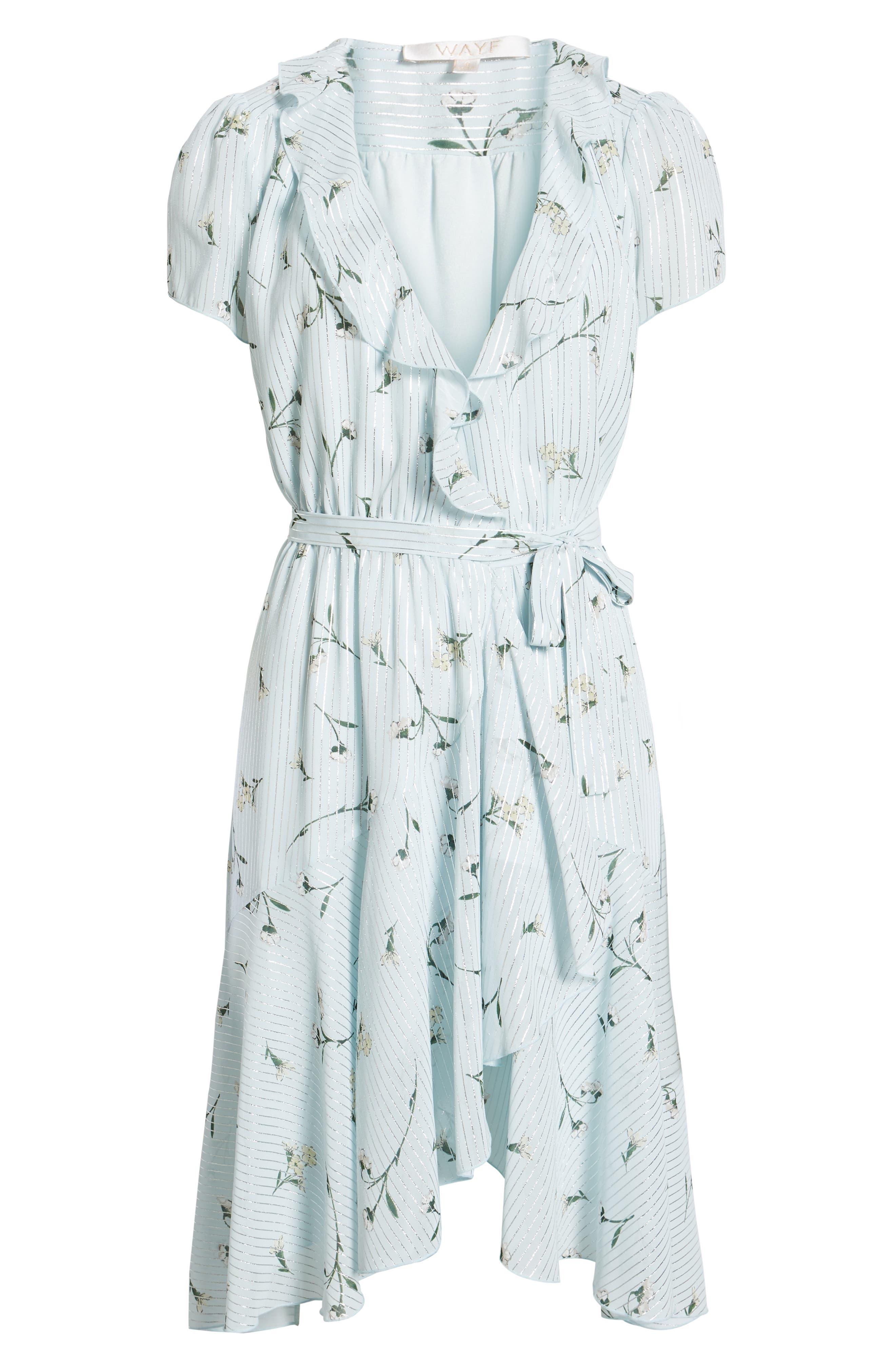 Sutton Wrap Dress,                             Alternate thumbnail 7, color,                             SKY BLUE FLORAL