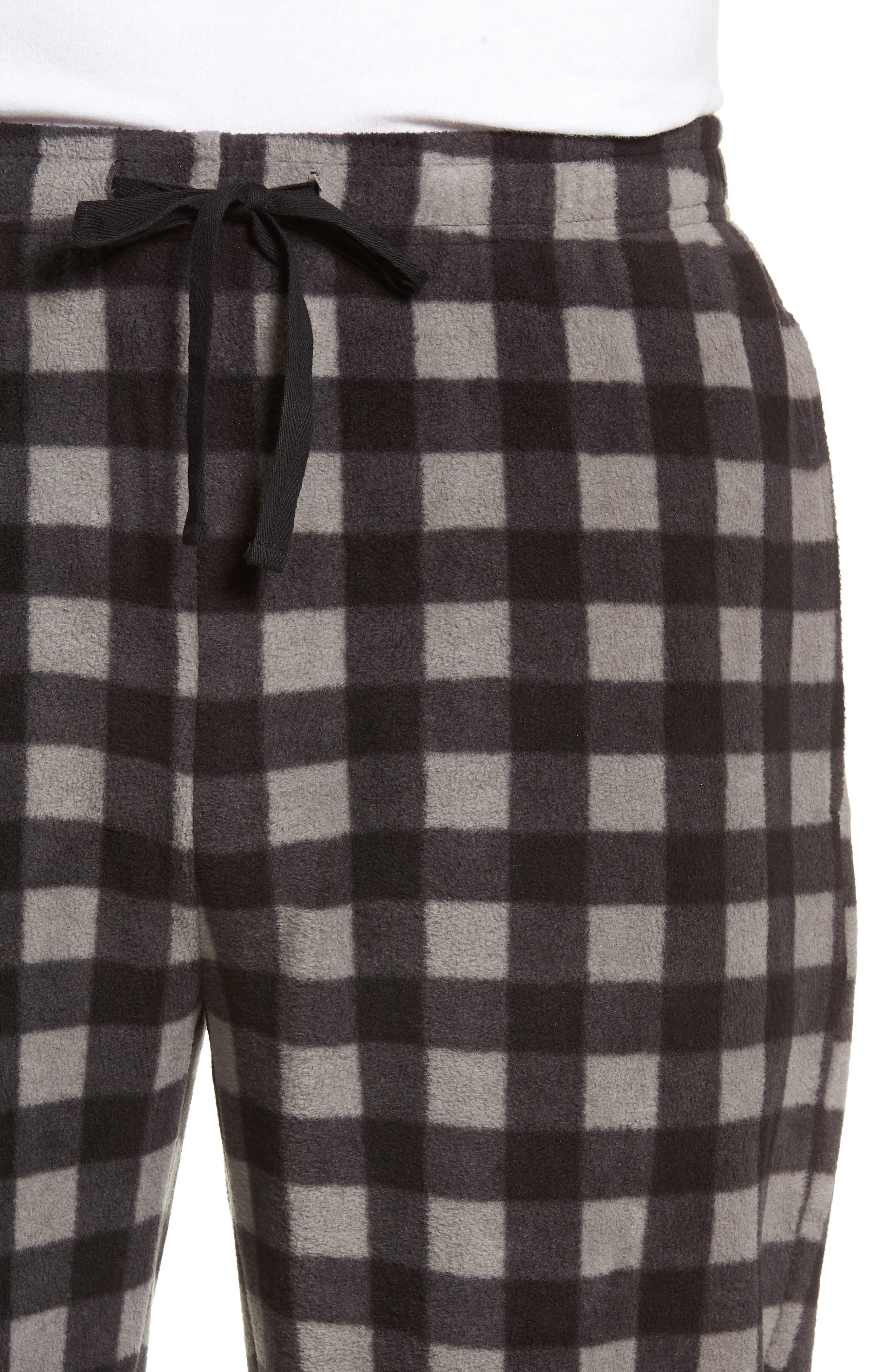 Print Microfleece Pajama Pants,                             Alternate thumbnail 4, color,                             GREY DECEMBER- BLACK BUFFALO