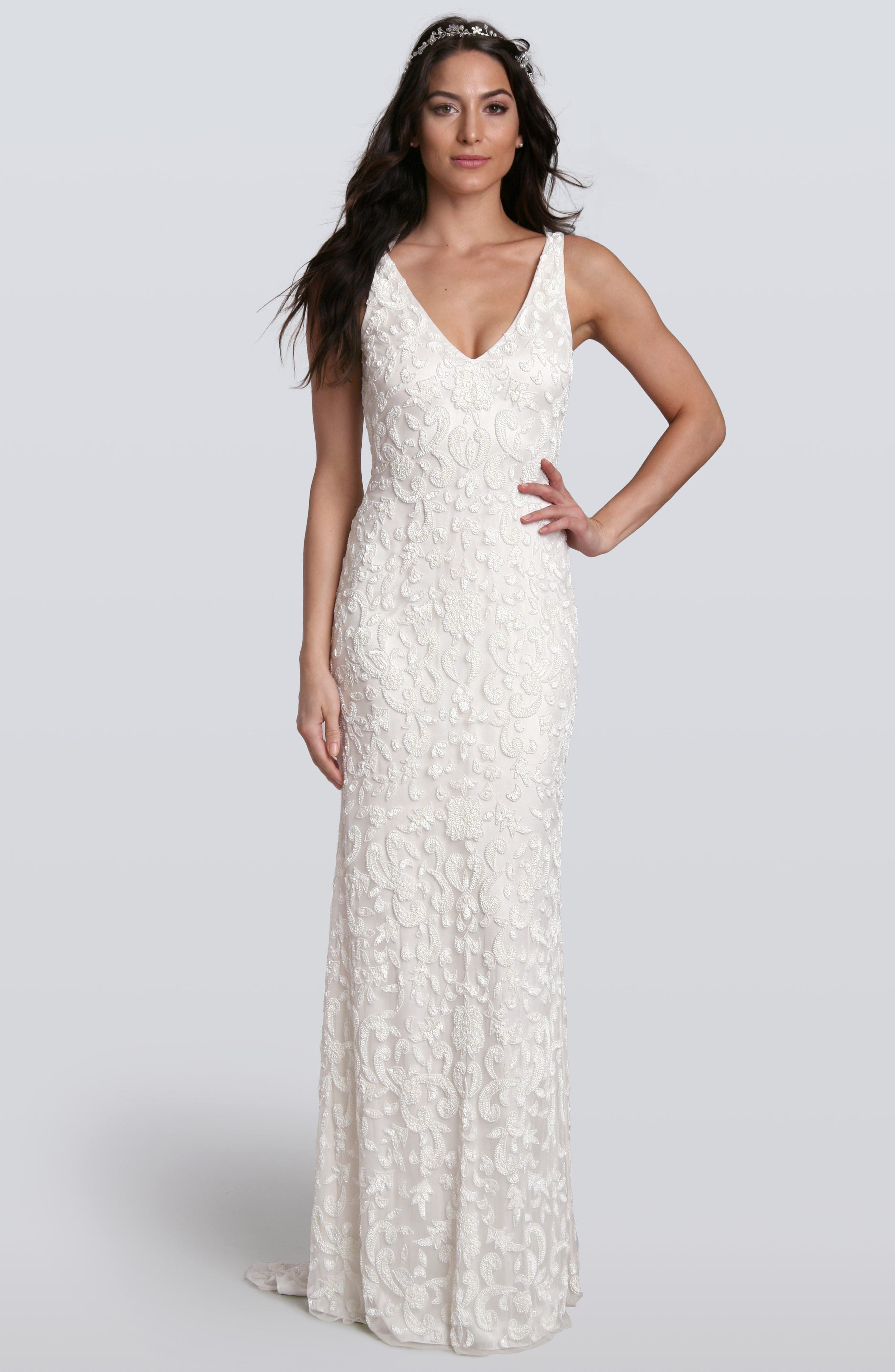 Lotus Threads Beaded Lace Gown, Ivory