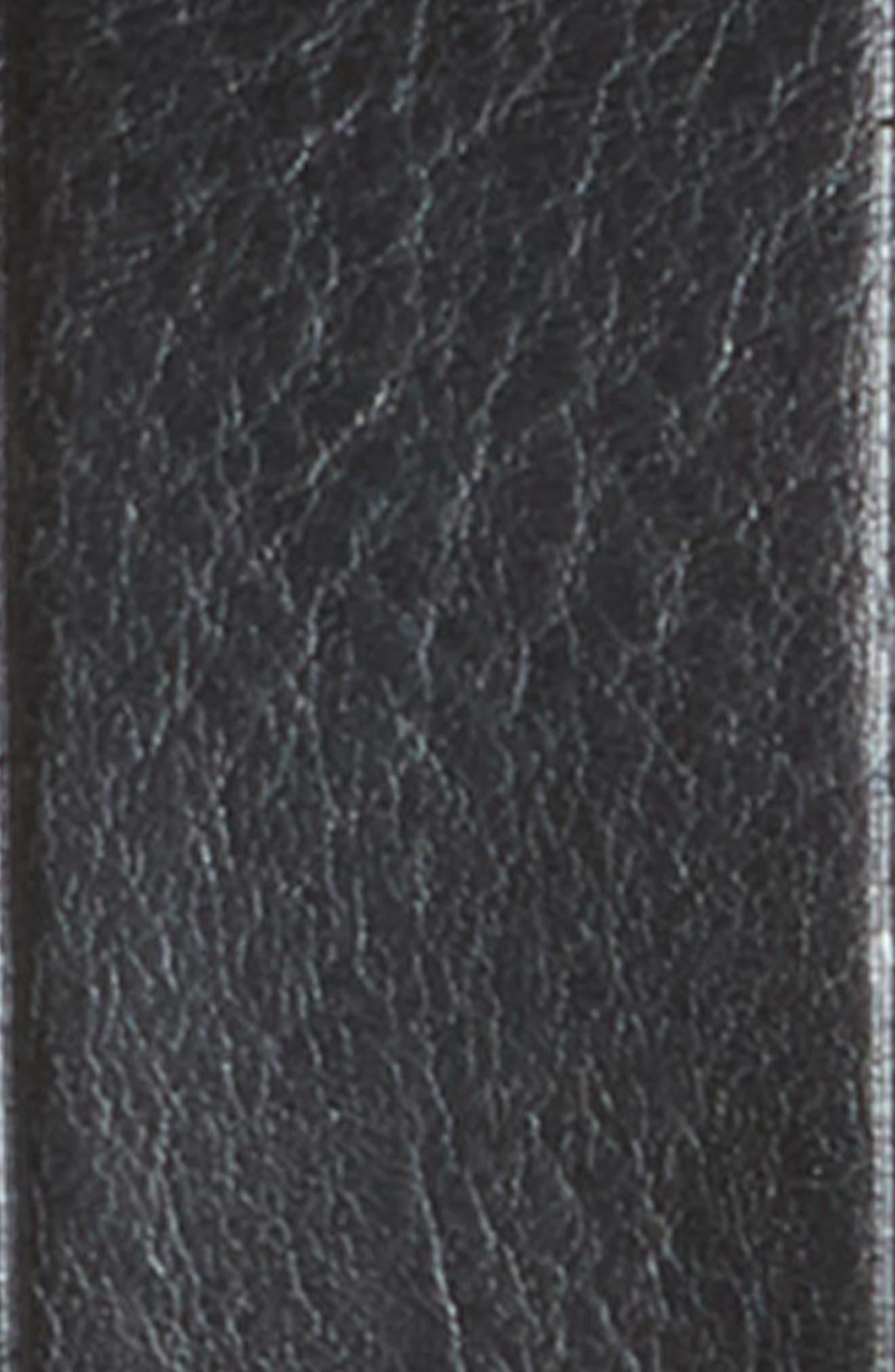 Medium Perfect Leather Belt,                             Alternate thumbnail 3, color,                             TRUE BLACK