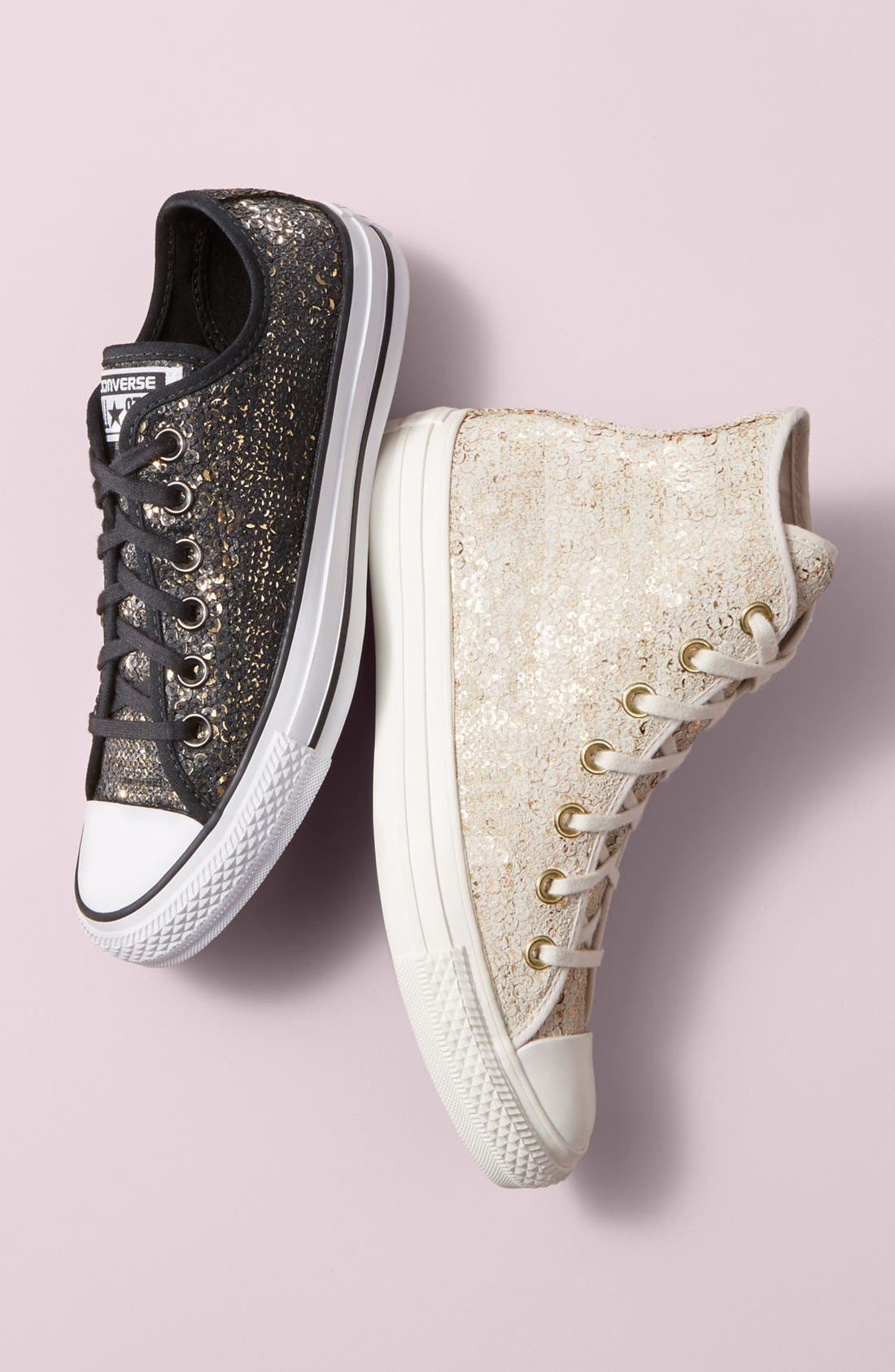 Chuck Taylor<sup>®</sup> All Star<sup>®</sup> 'Distressed Sequin Ox' Sneaker,                             Alternate thumbnail 5, color,                             001