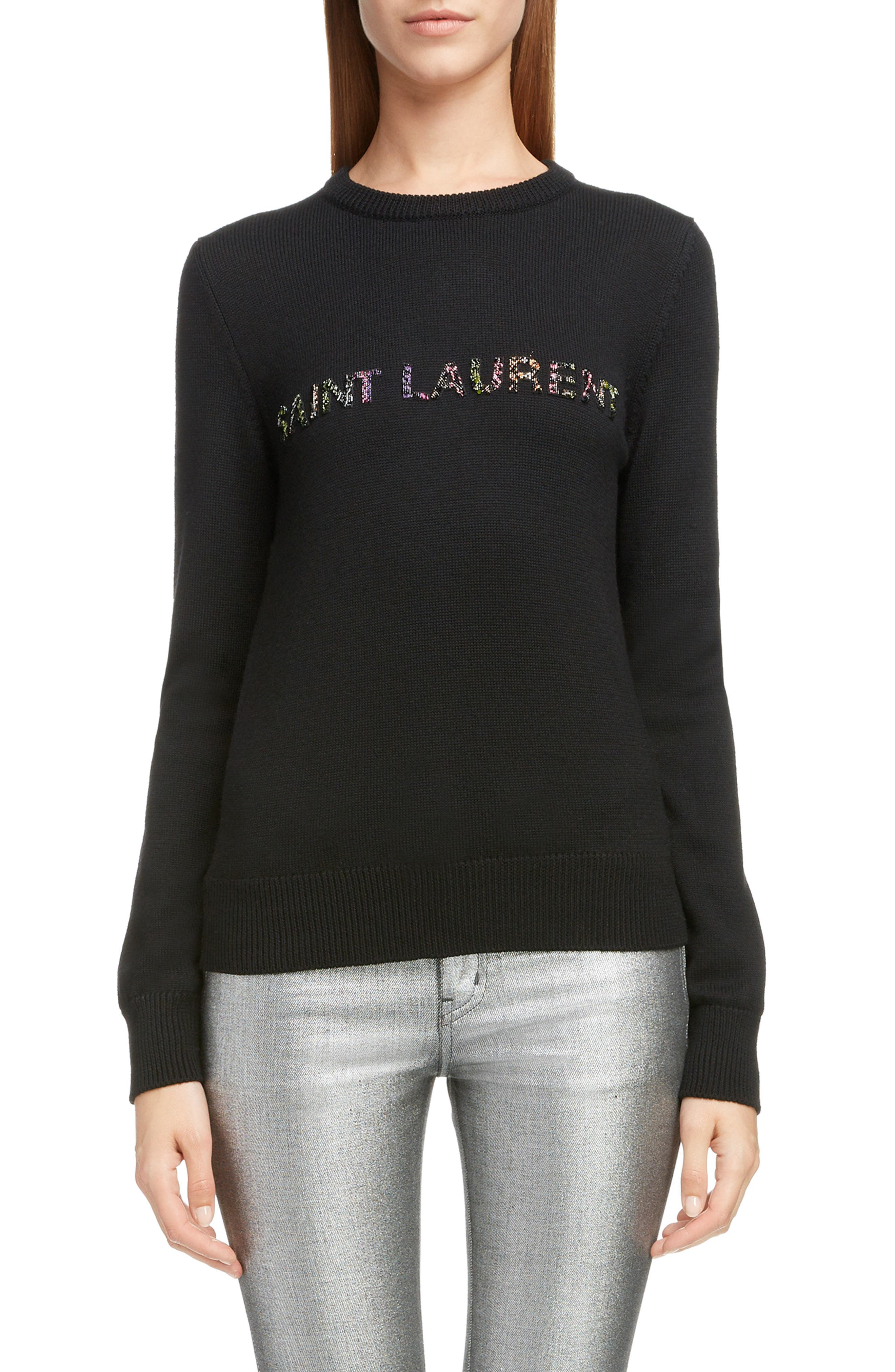 Crewneck Glitter-Logo Wool Sweater in Noir / Multicolor