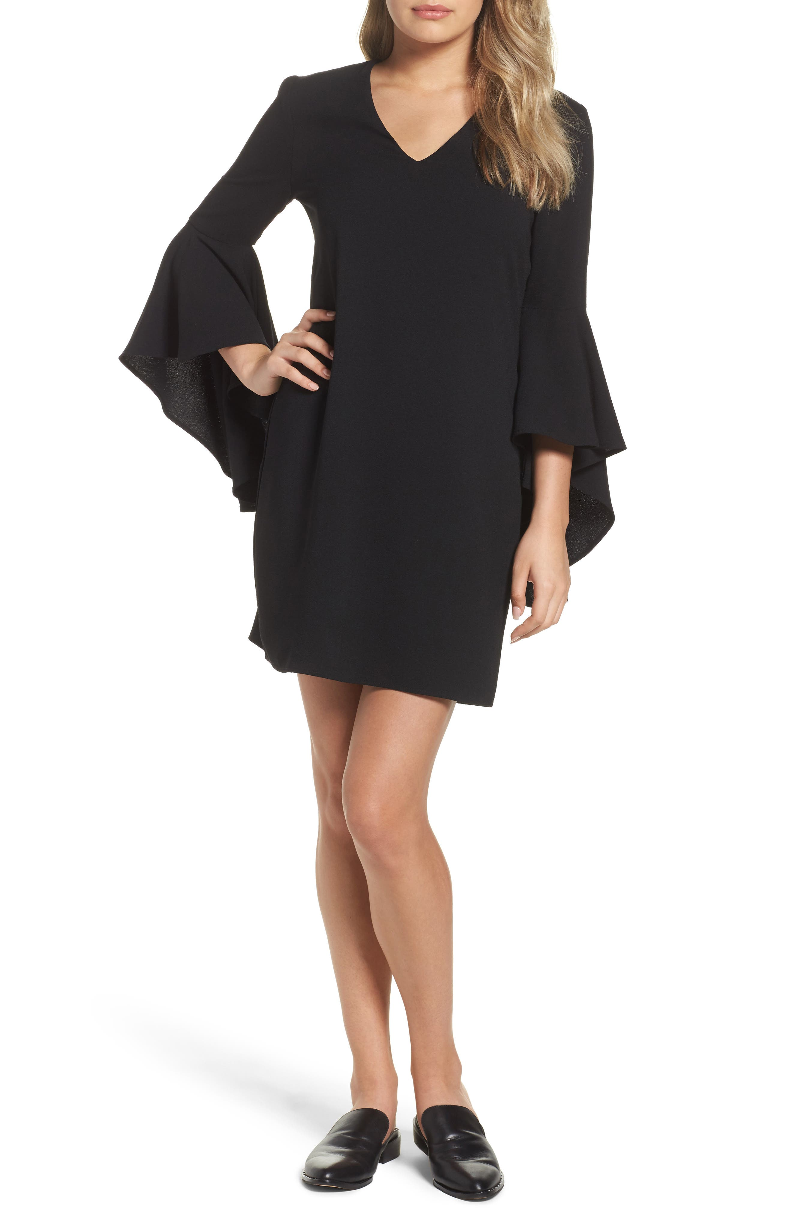 Bell Sleeve Shift Dress,                             Main thumbnail 1, color,                             001