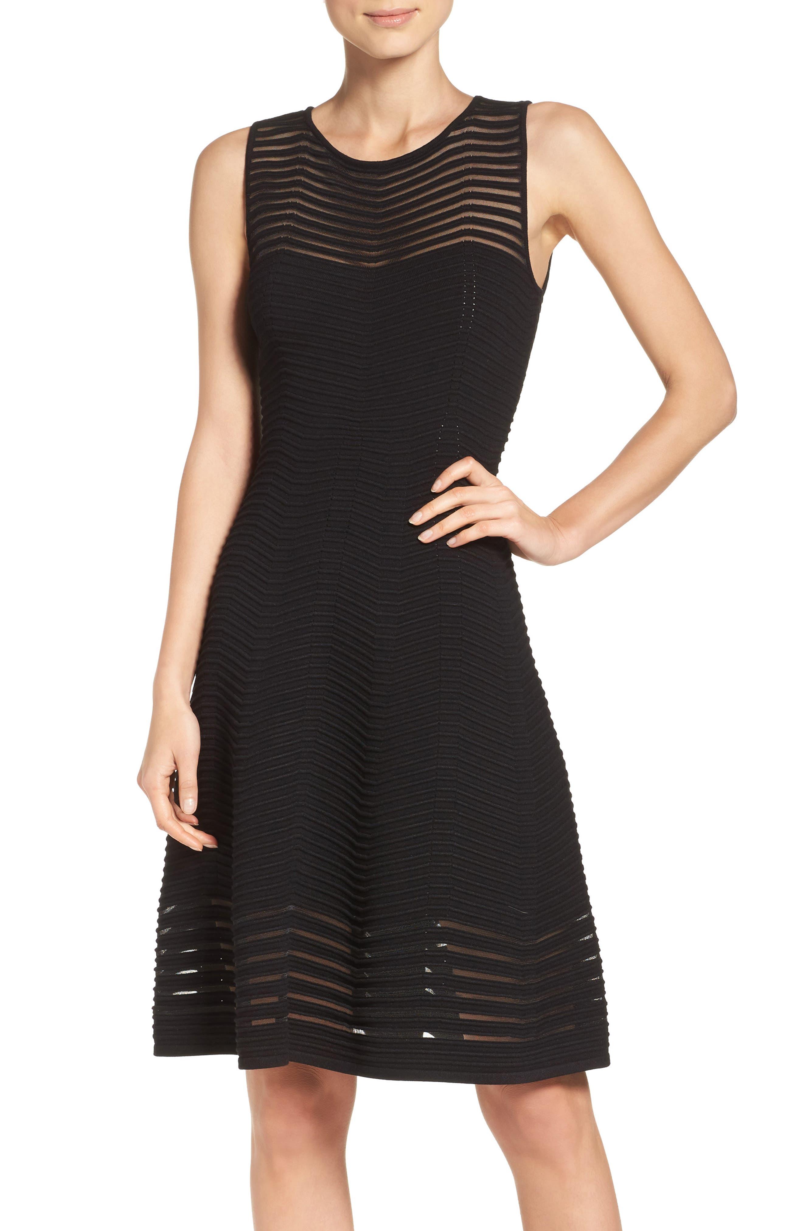 Chevron Fit & Flare Dress,                             Main thumbnail 1, color,                             001