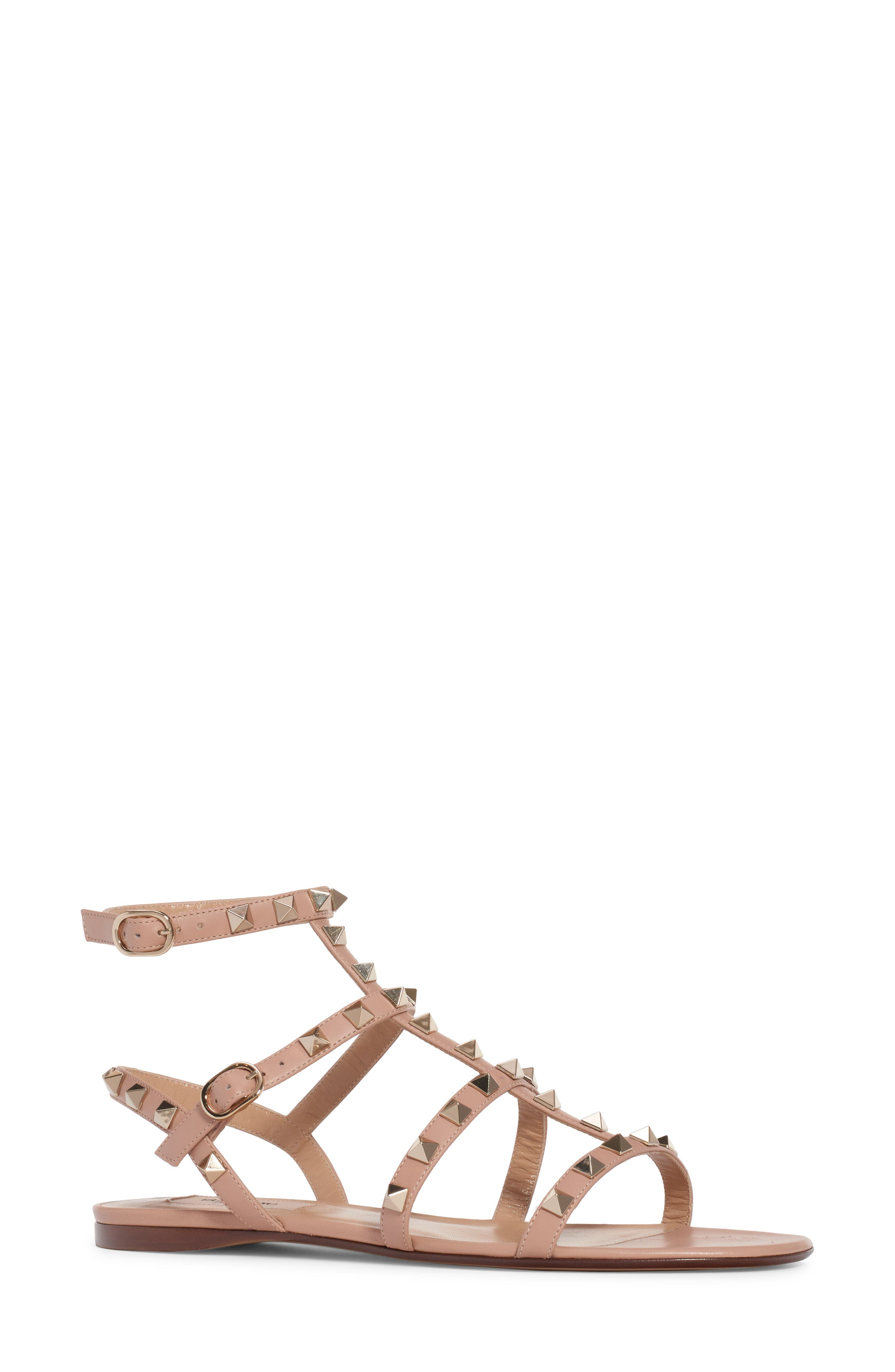 Rockstud Cage Sandal, Main, color, ROSE BEIGE