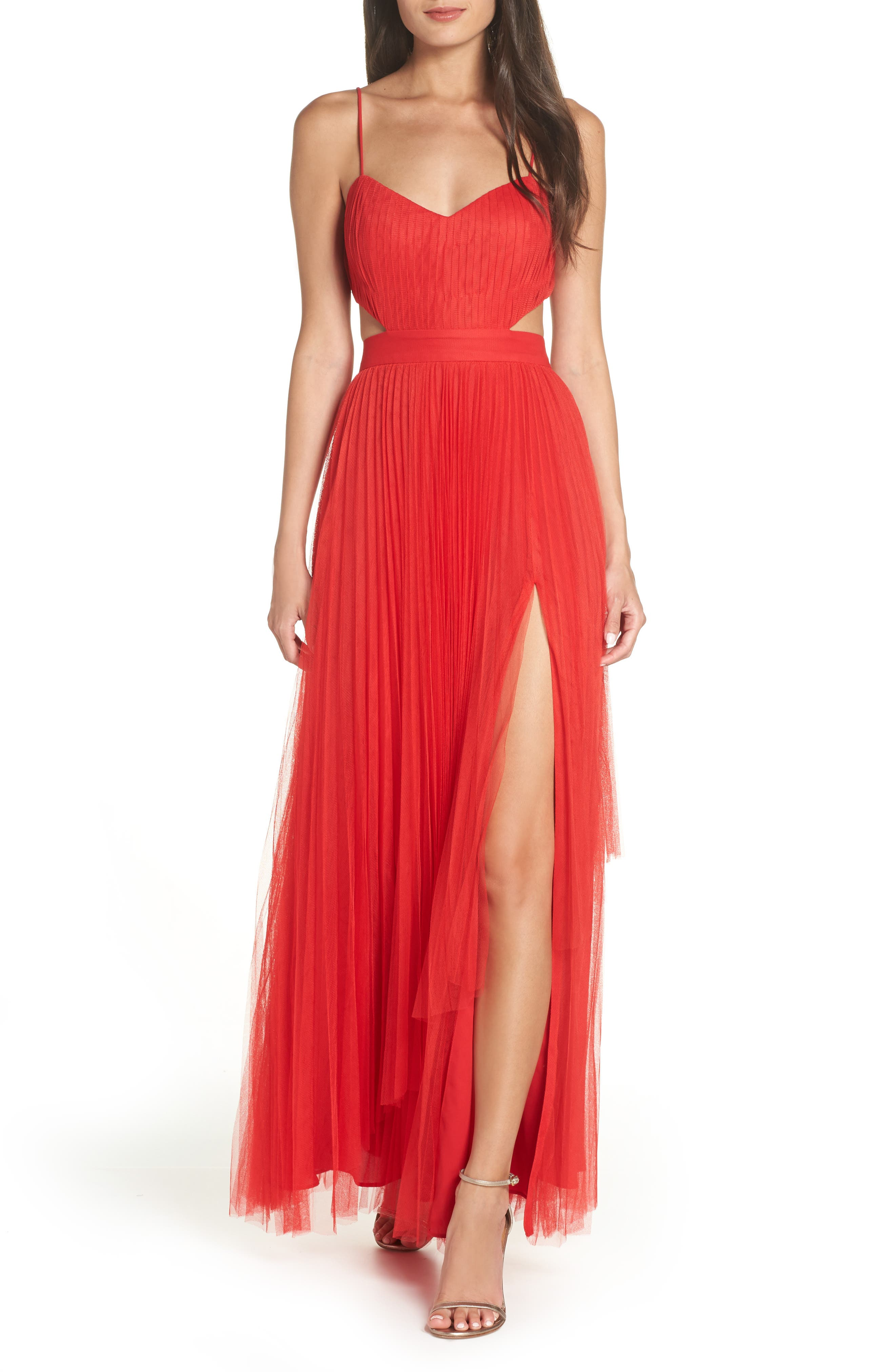 Fame And Partners Dakota Cutout A-Line Gown, Red