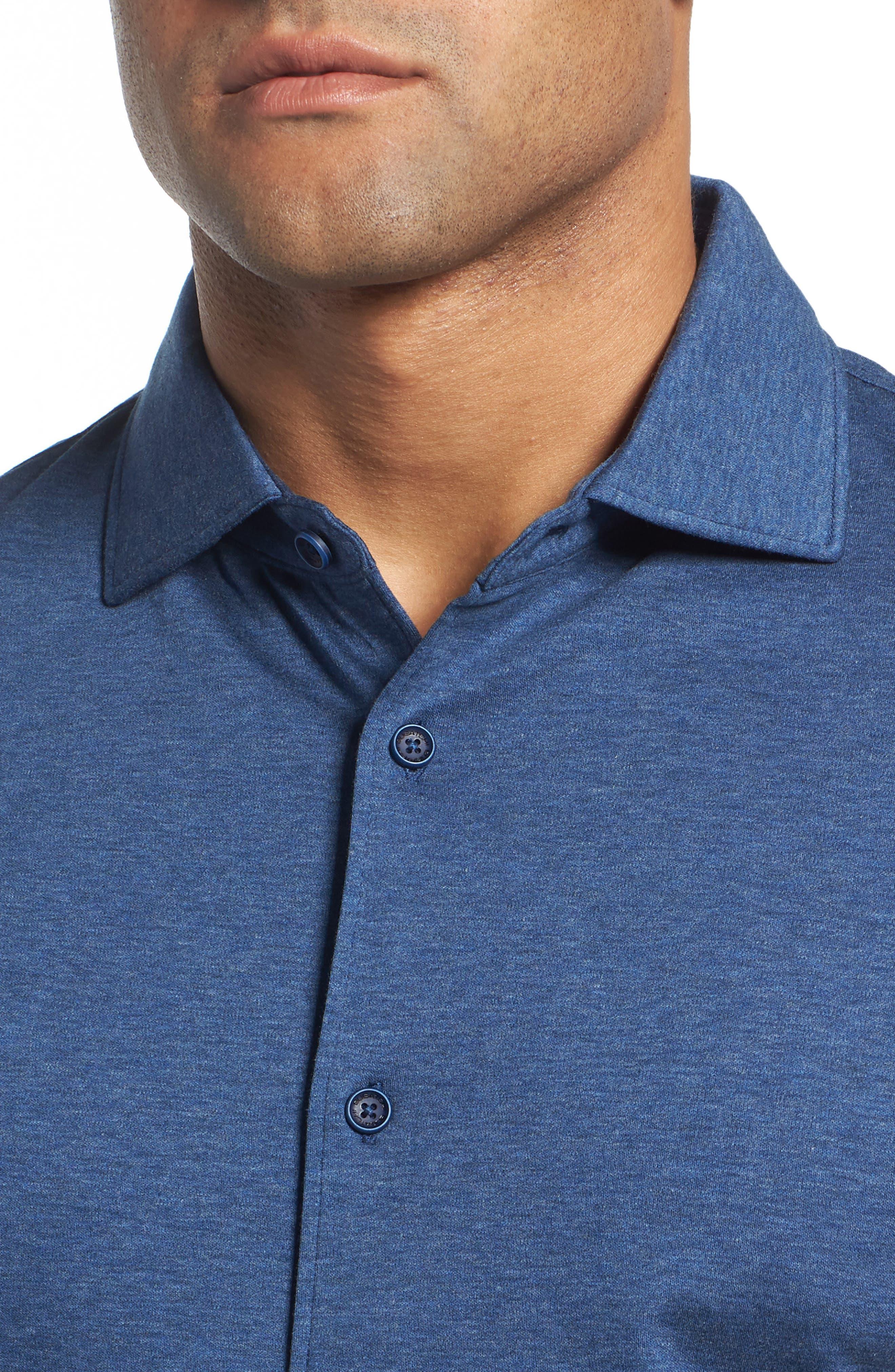 Regular Fit Heather Knit Sport Shirt,                             Alternate thumbnail 4, color,                             NAVY