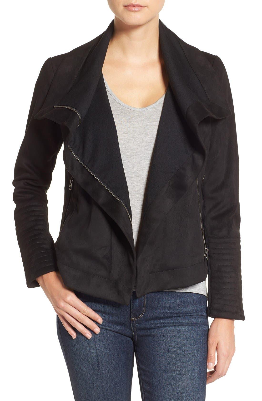 Faux Suede Moto Jacket, Main, color, 001