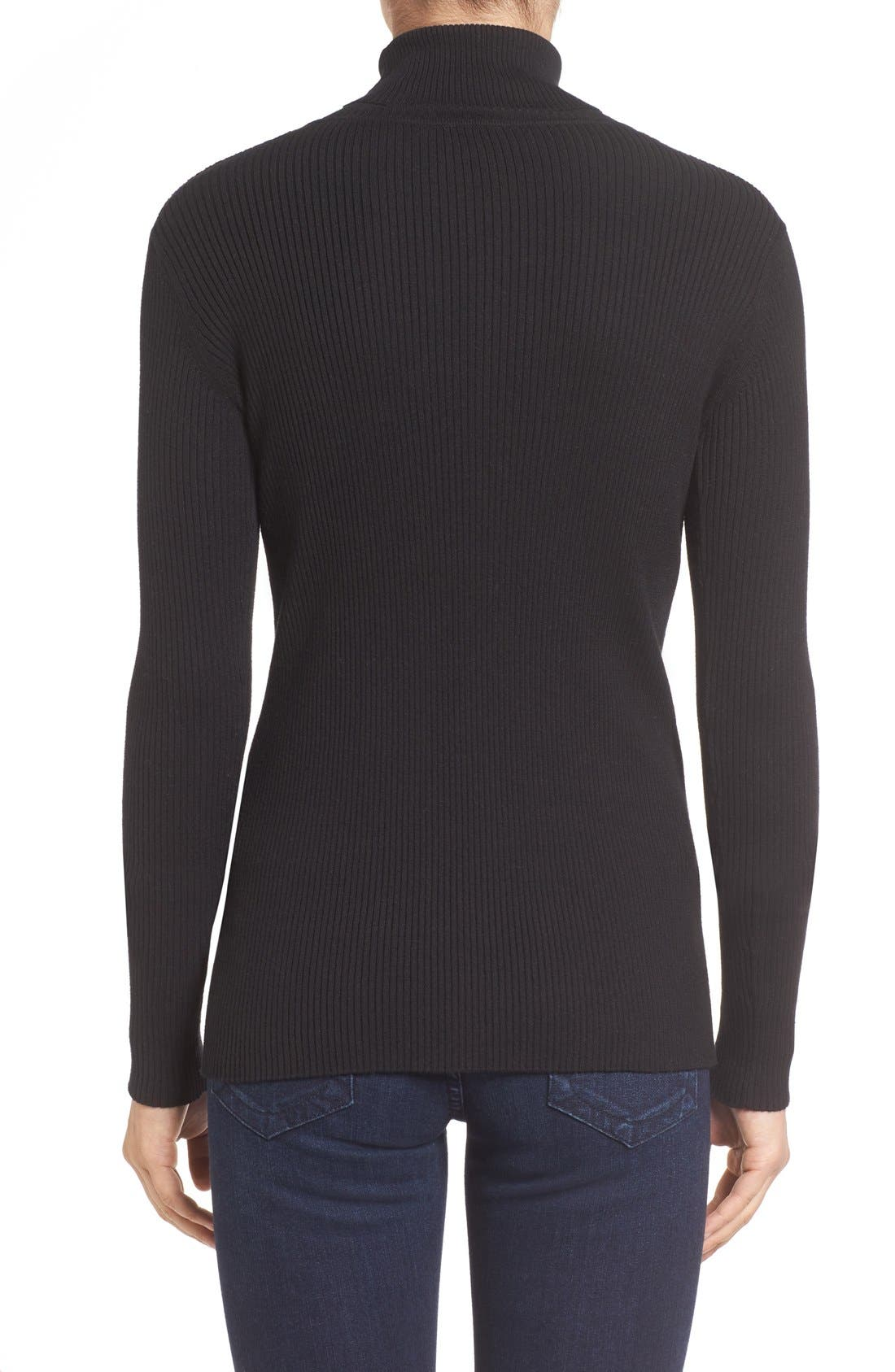 Ribbed Cotton Turtleneck Sweater,                             Alternate thumbnail 2, color,                             006