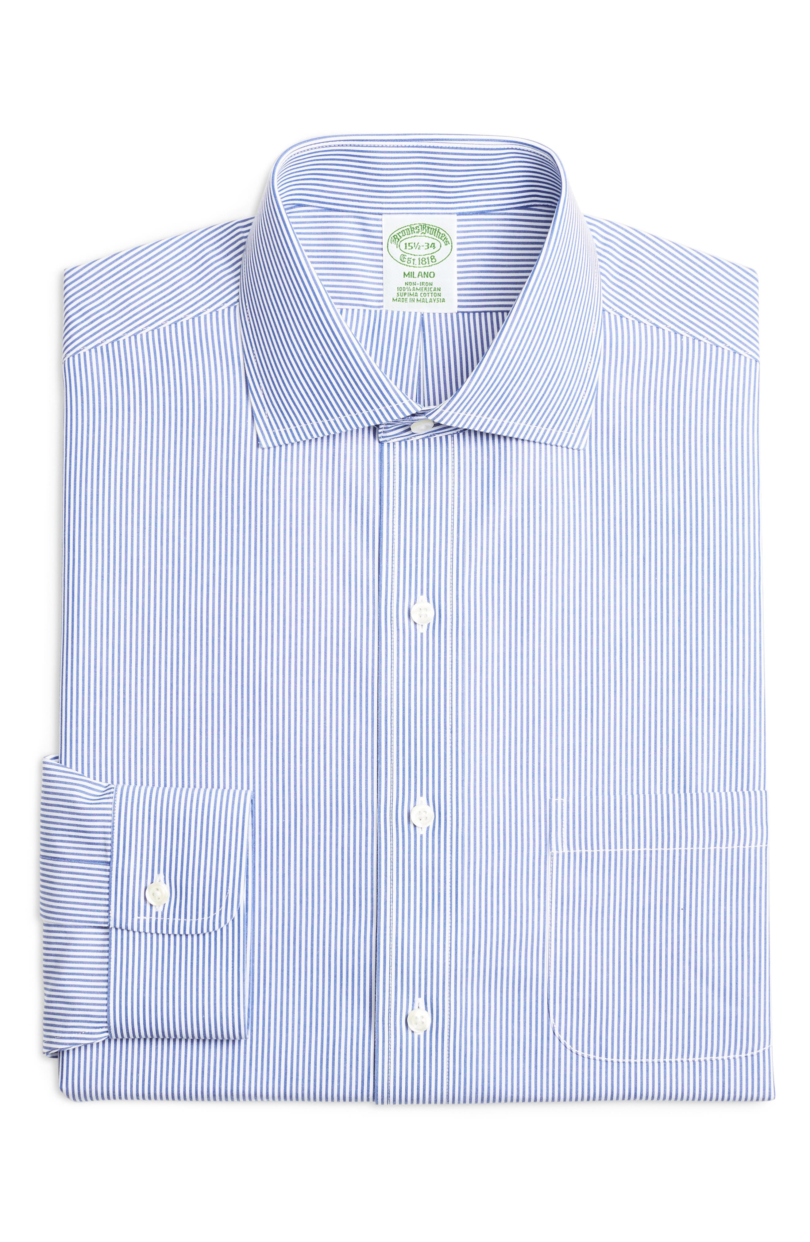 Trim Fit Stripe Dress Shirt,                             Main thumbnail 1, color,                             BLUE
