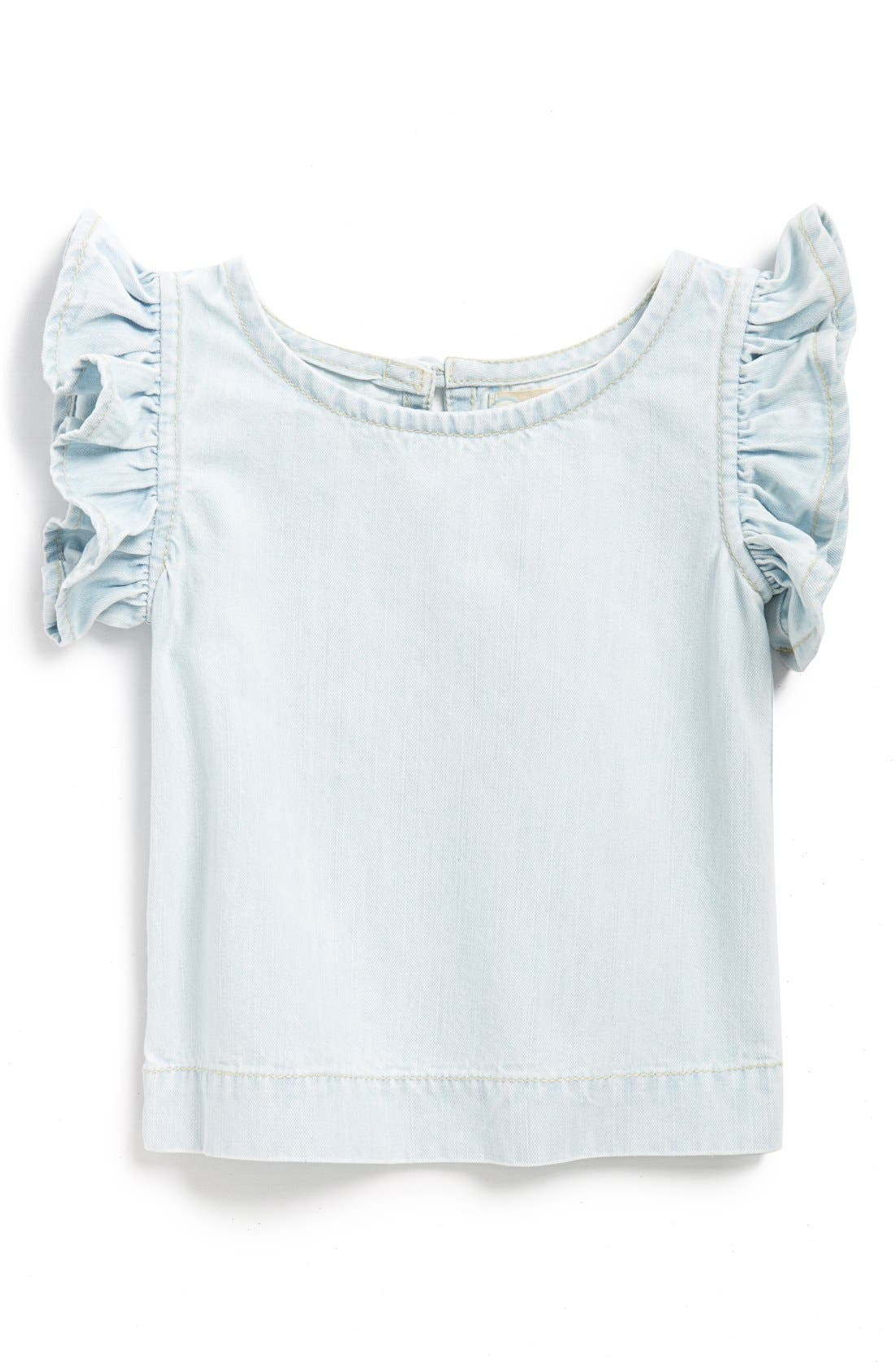 Peek 'Hayley' Chambray Flutter Sleeve Top,                             Main thumbnail 1, color,                             402