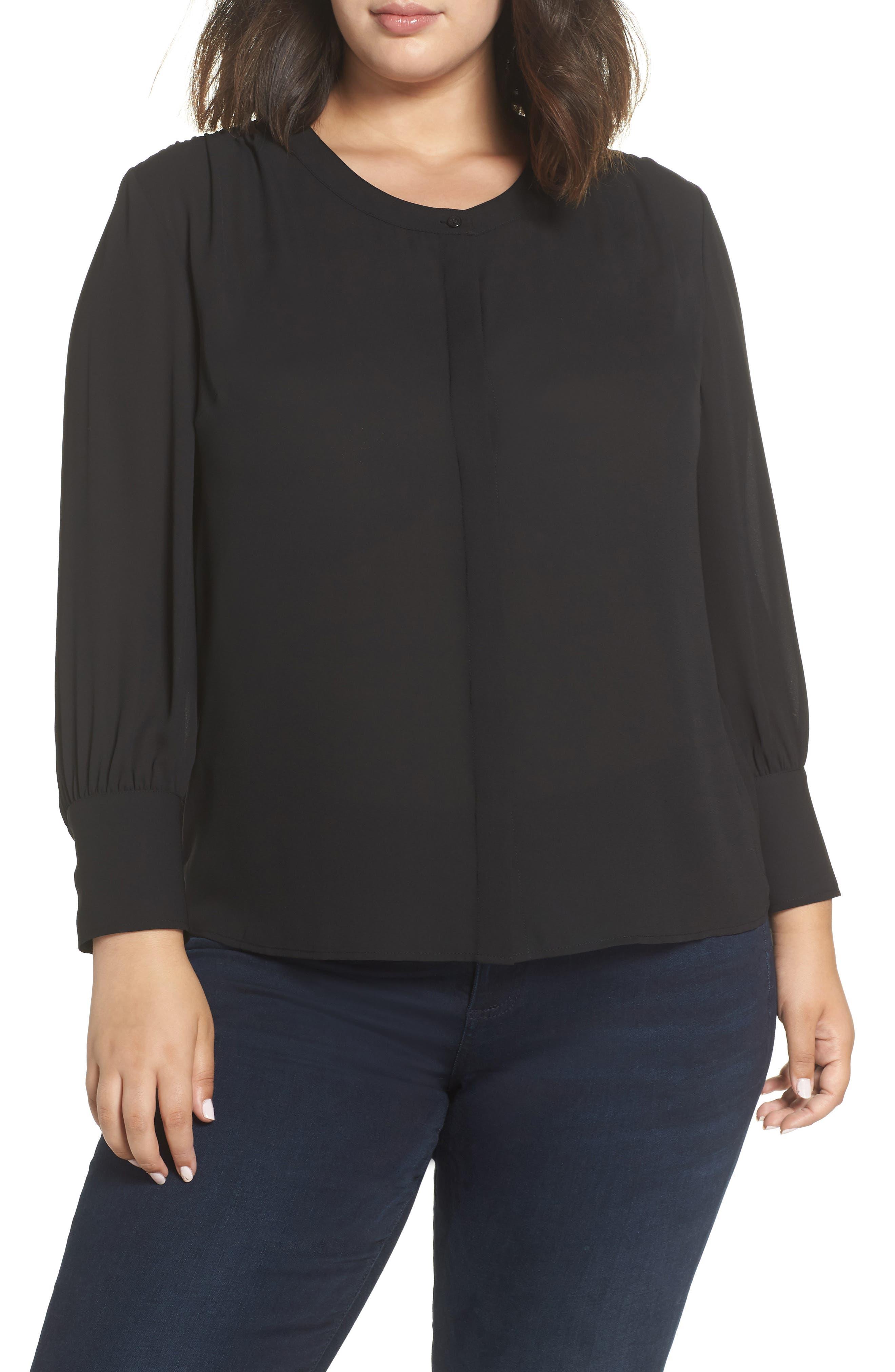 Placket Front Blouse,                         Main,                         color, BLACK