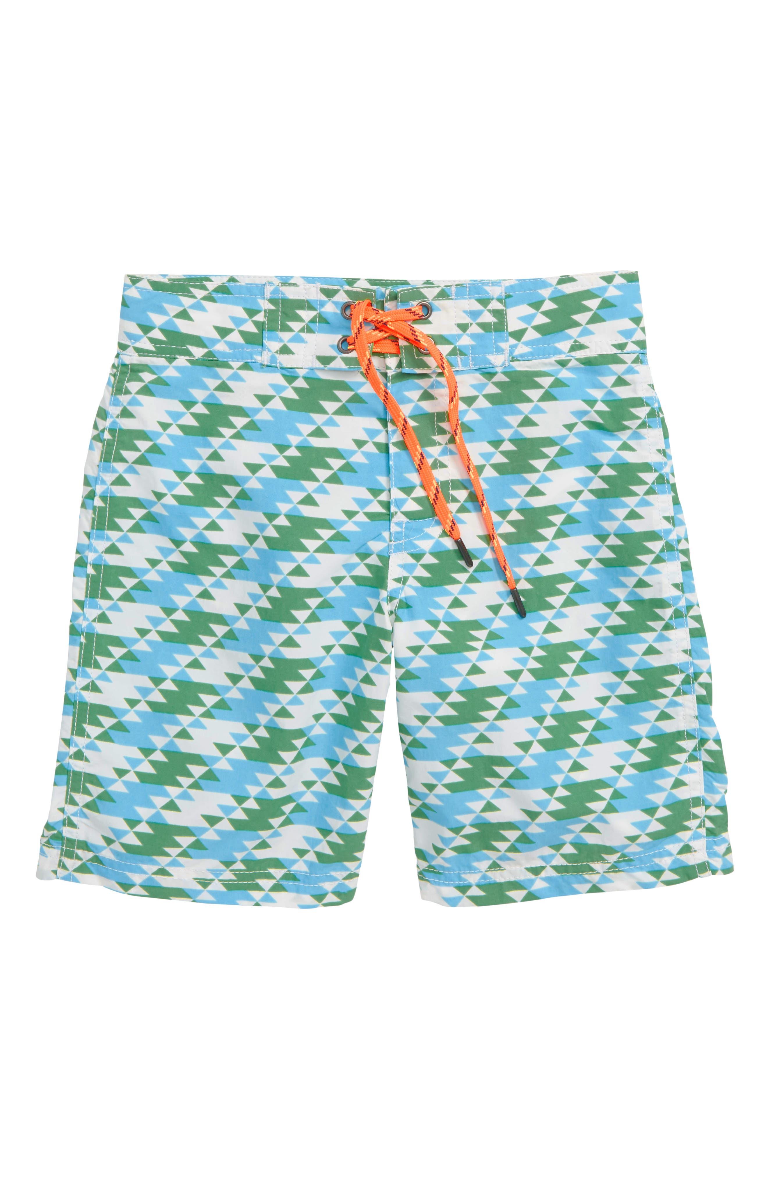 Geo Print Board Shorts, Main, color, IVORY GREEN TEAL