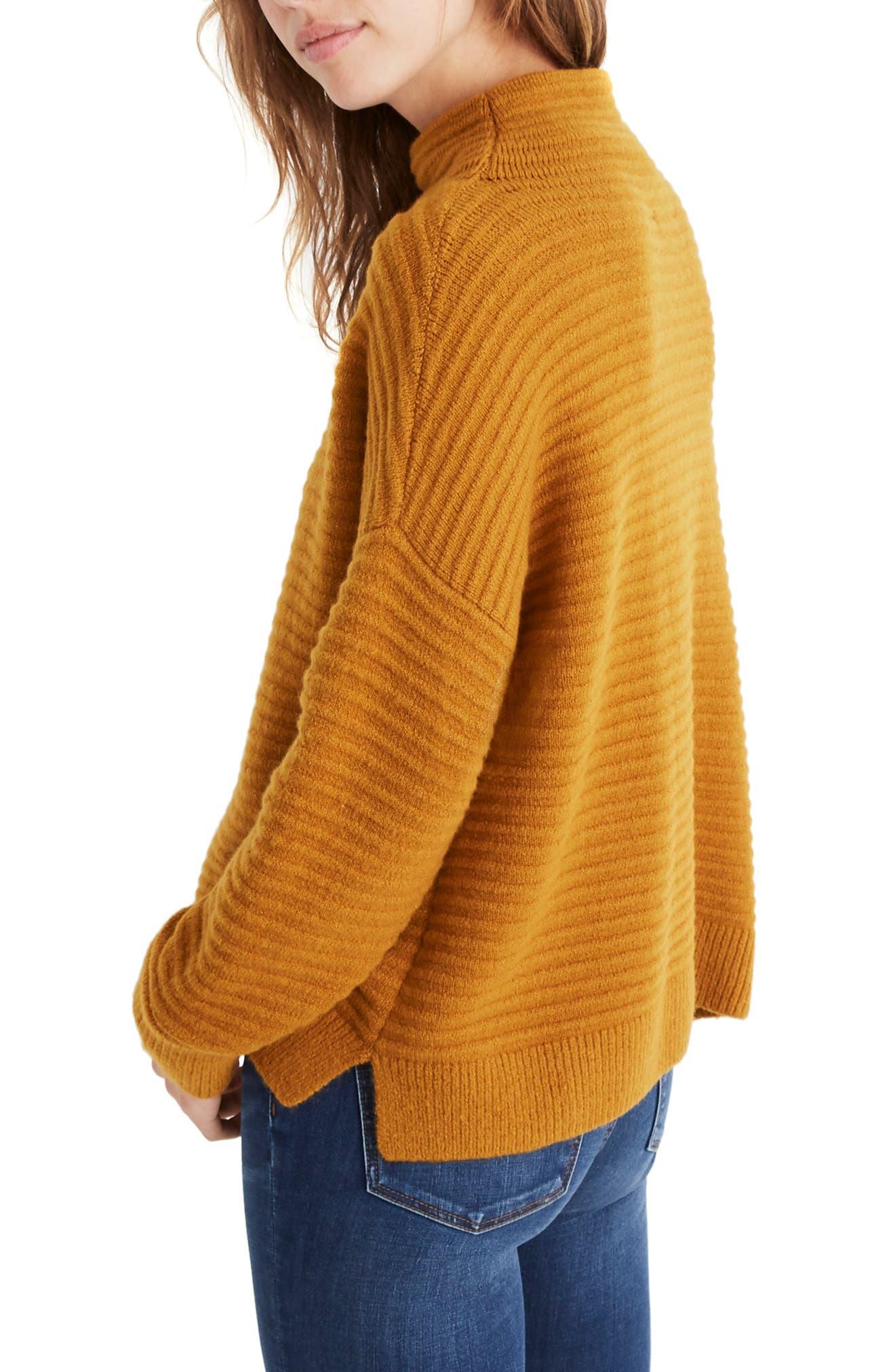 Belmont Mock Neck Sweater,                             Alternate thumbnail 3, color,                             GOLDEN HARVEST