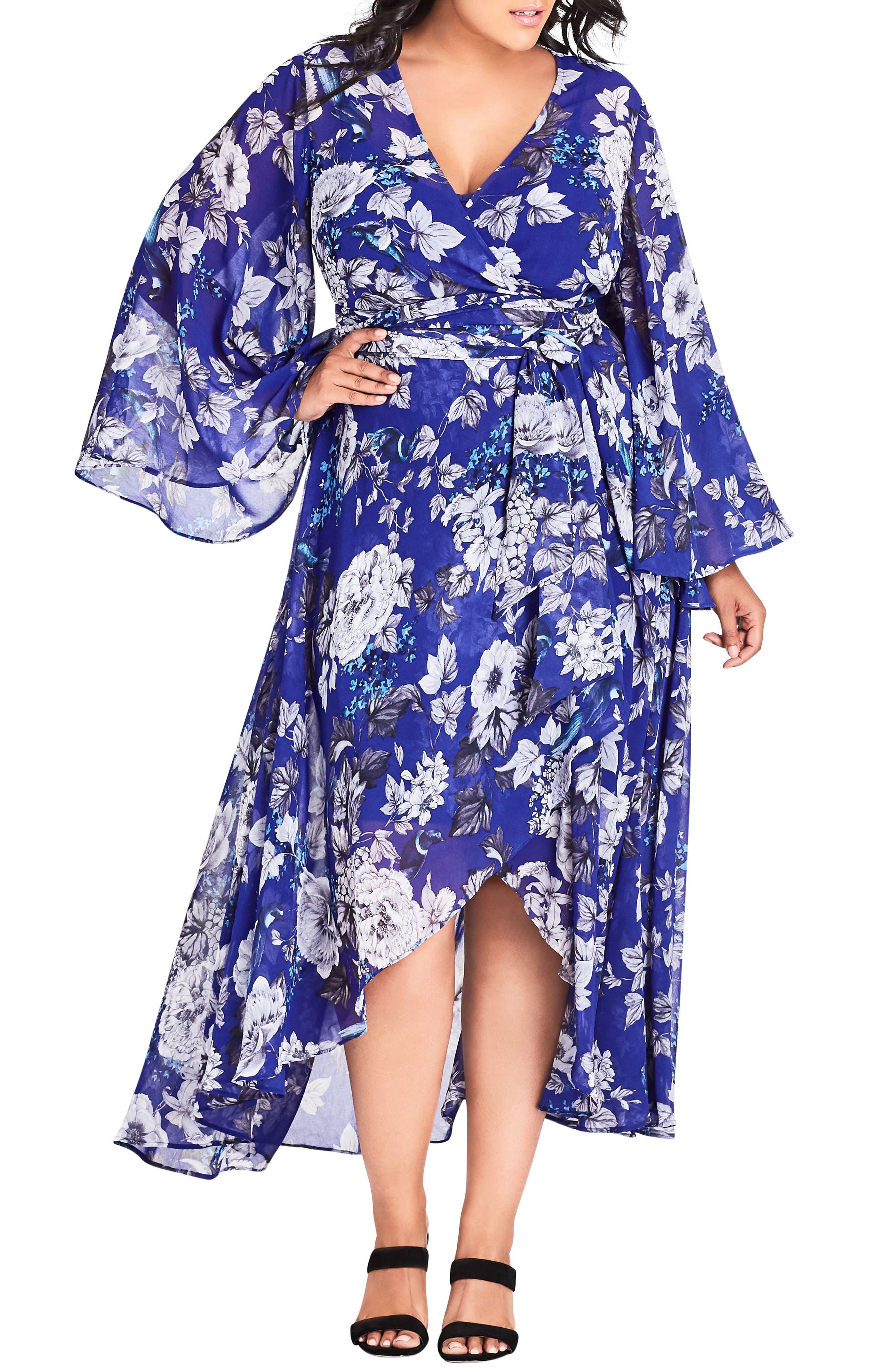 Plus Size City Chic Bluebird Maxi Dress, Blue
