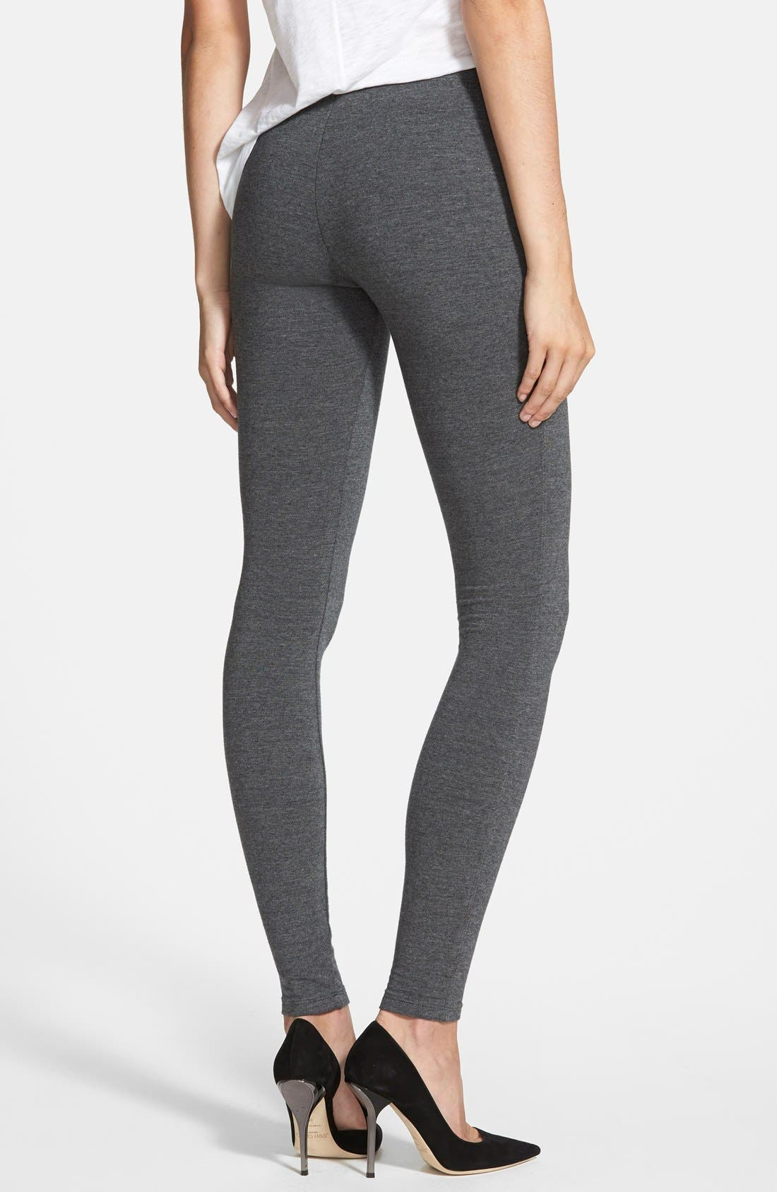 French Terry Leggings,                             Alternate thumbnail 3, color,                             CHARCOAL