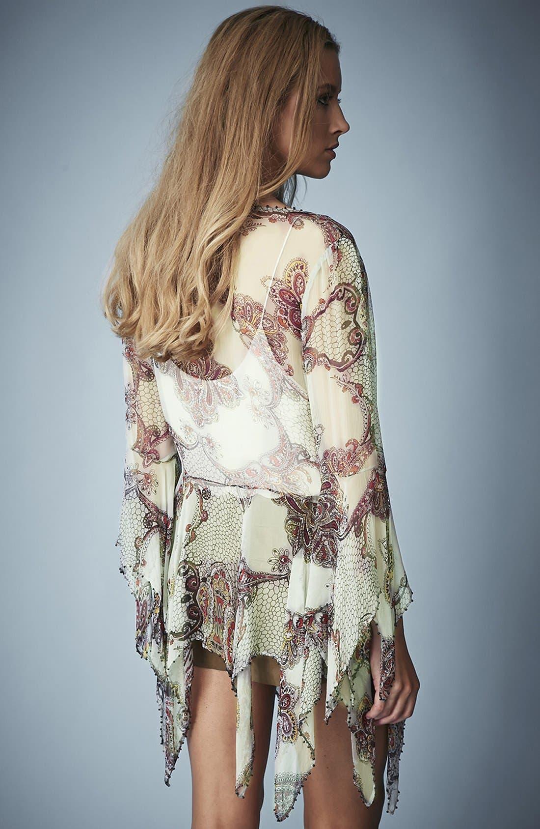 Kate Moss for Topshop Draped Paisley Tie Blouse,                             Alternate thumbnail 3, color,