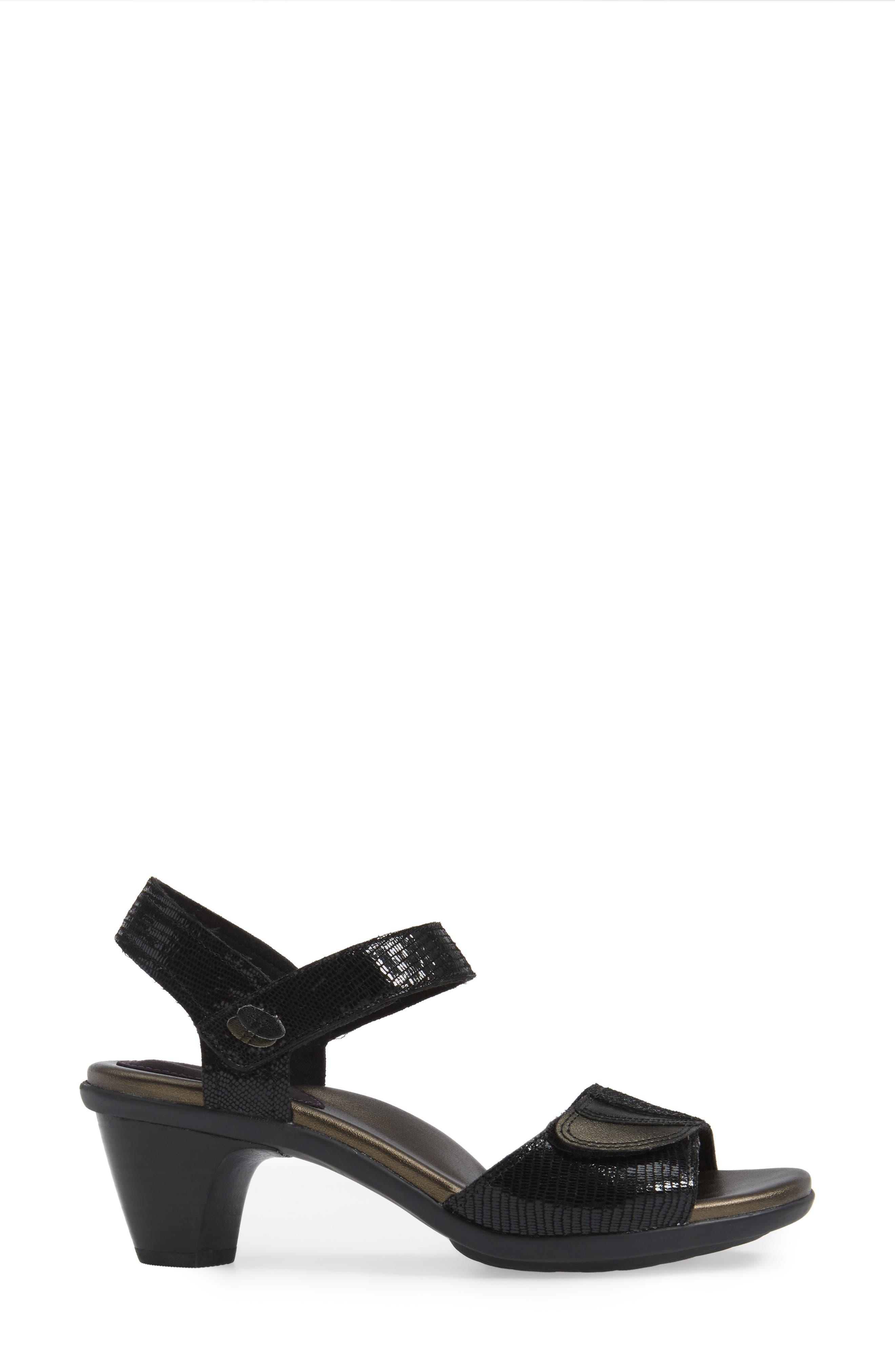 Medici Sandal,                             Alternate thumbnail 3, color,                             BLACK FABRIC