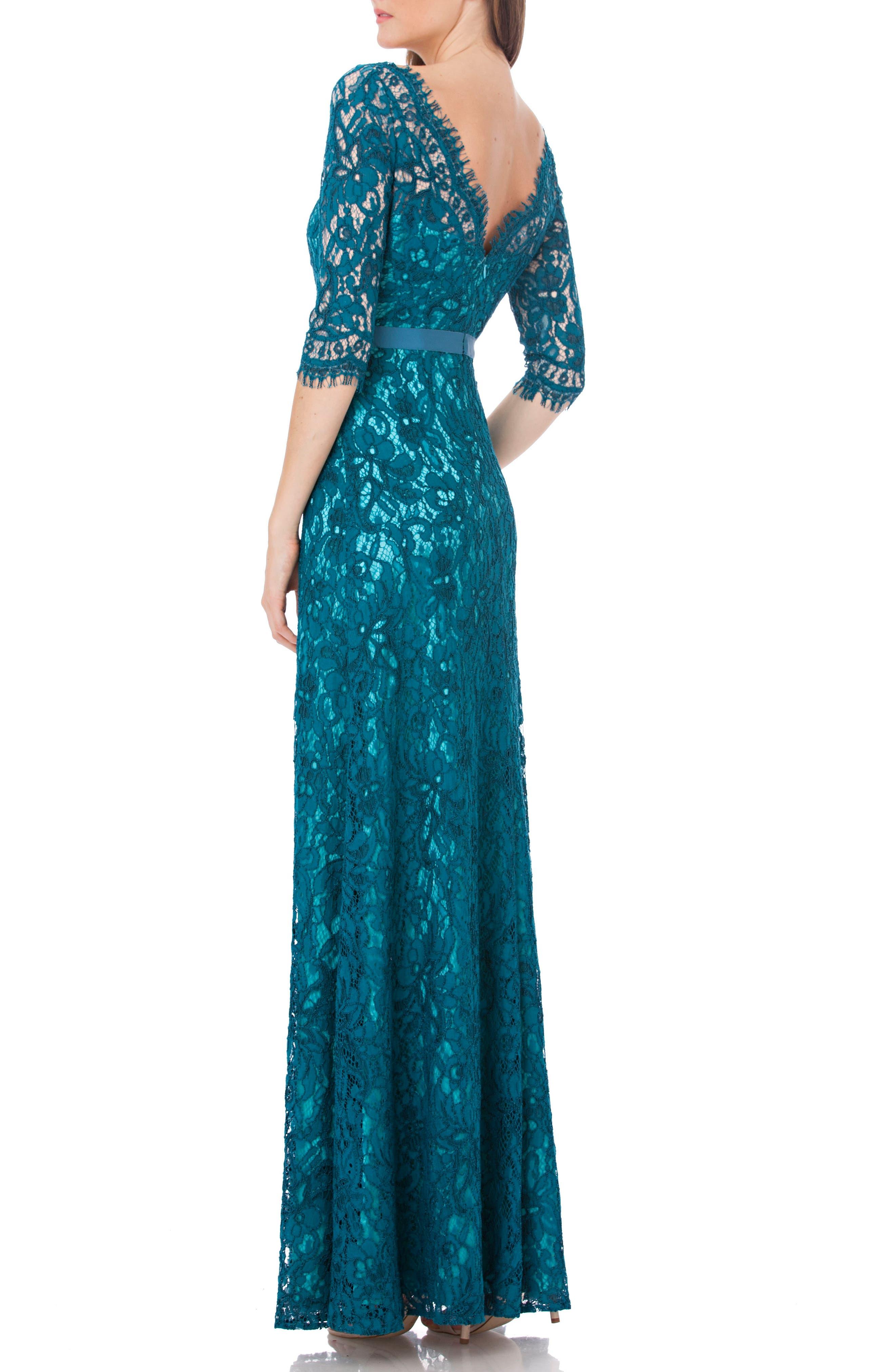 Bateau Neck Lace Gown,                             Alternate thumbnail 2, color,                             428