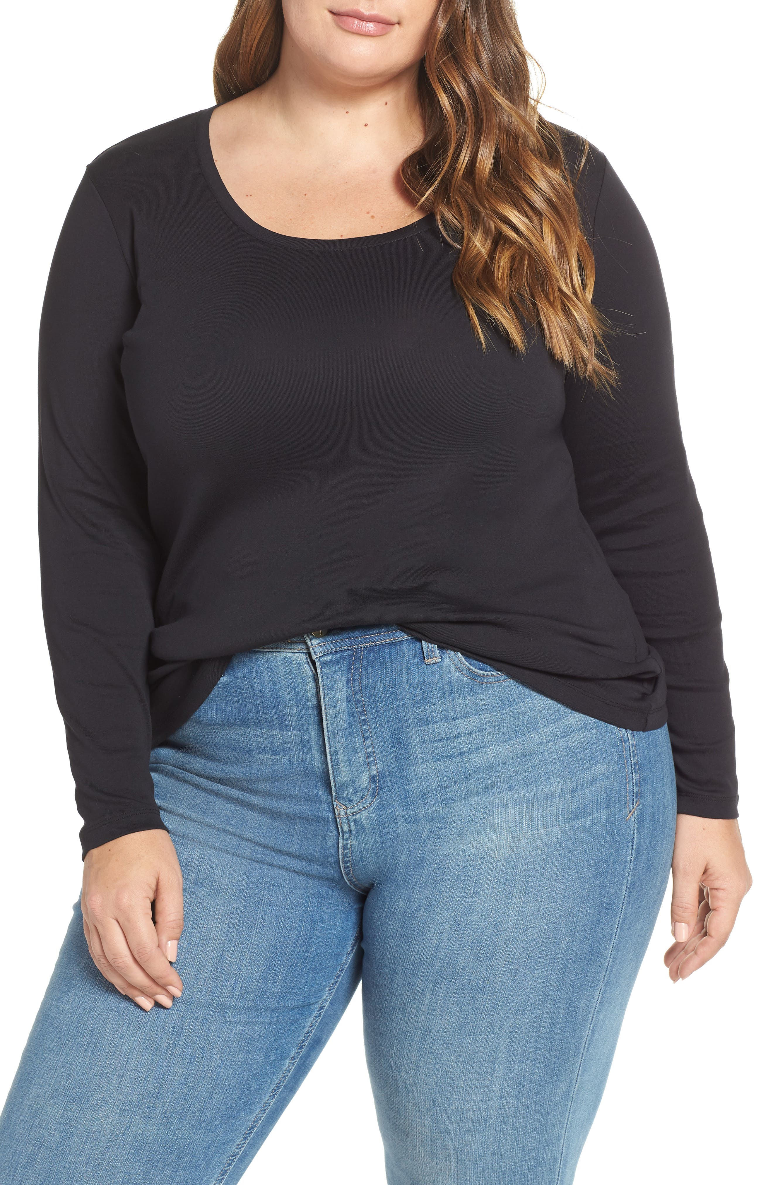Melody Long Sleeve Scoop Neck Tee, Main, color, BLACK