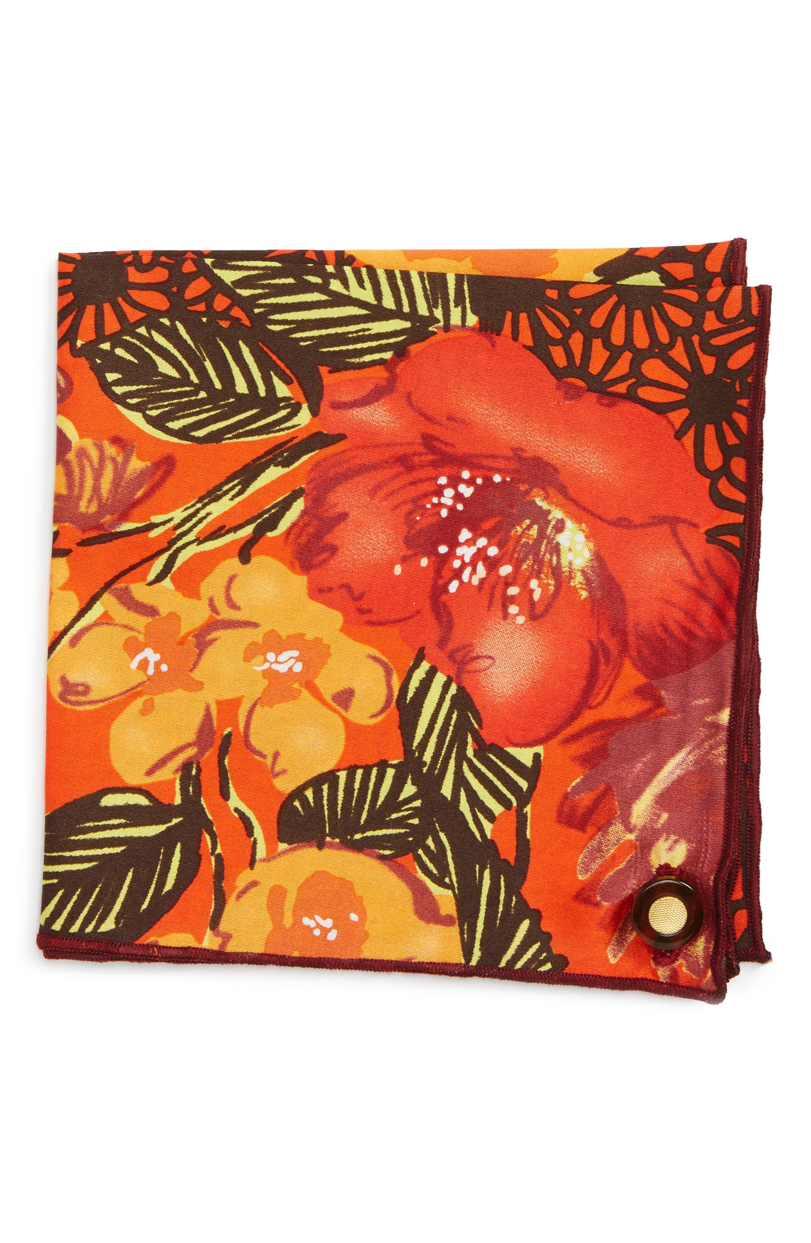 Orange Tree Cotton Pocket Square,                             Main thumbnail 1, color,                             800