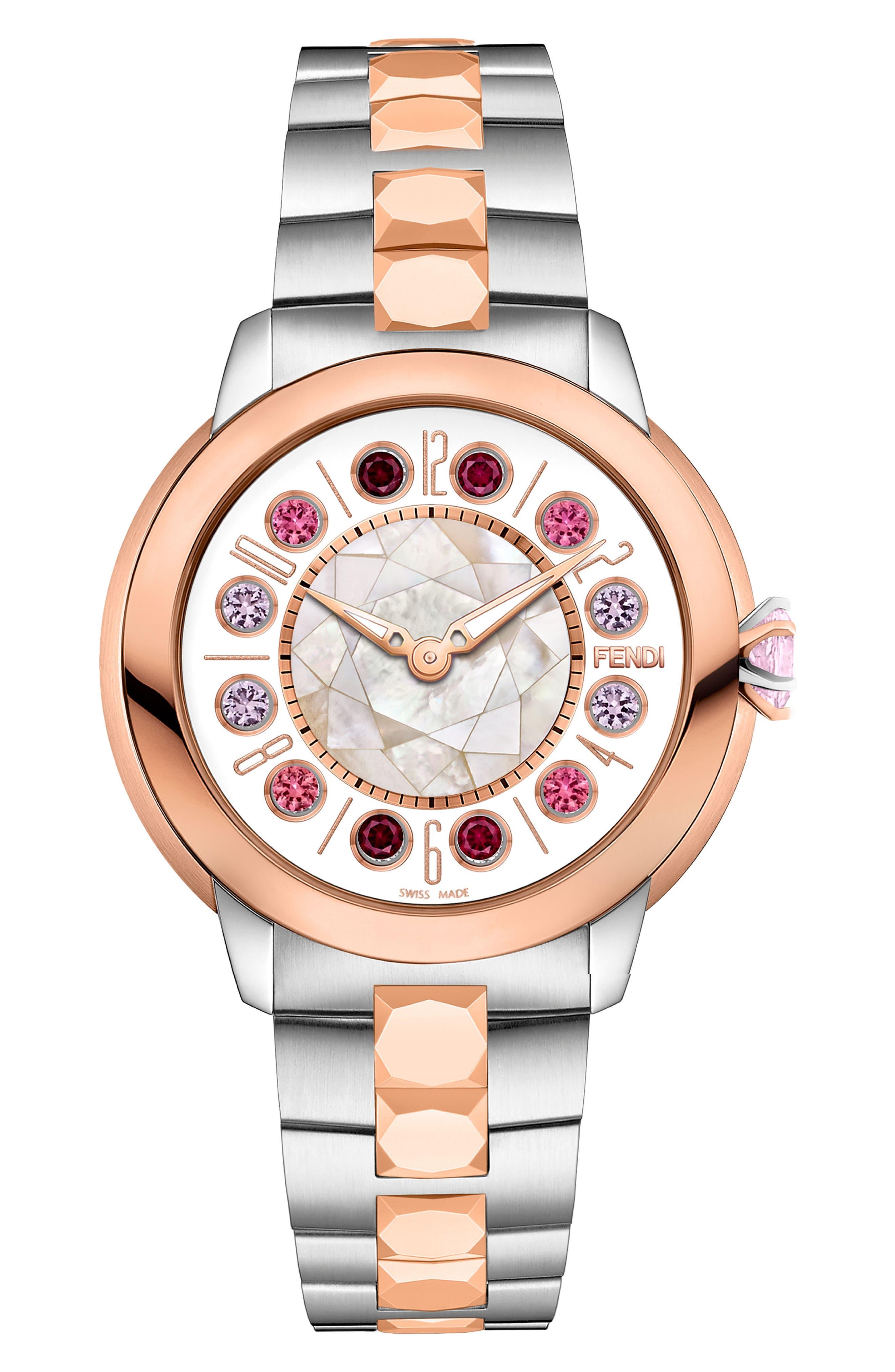 Ishine Rotating Stone Bracelet Watch, 33mm,                             Alternate thumbnail 4, color,                             SILVER/ MOP/ ROSE GOLD
