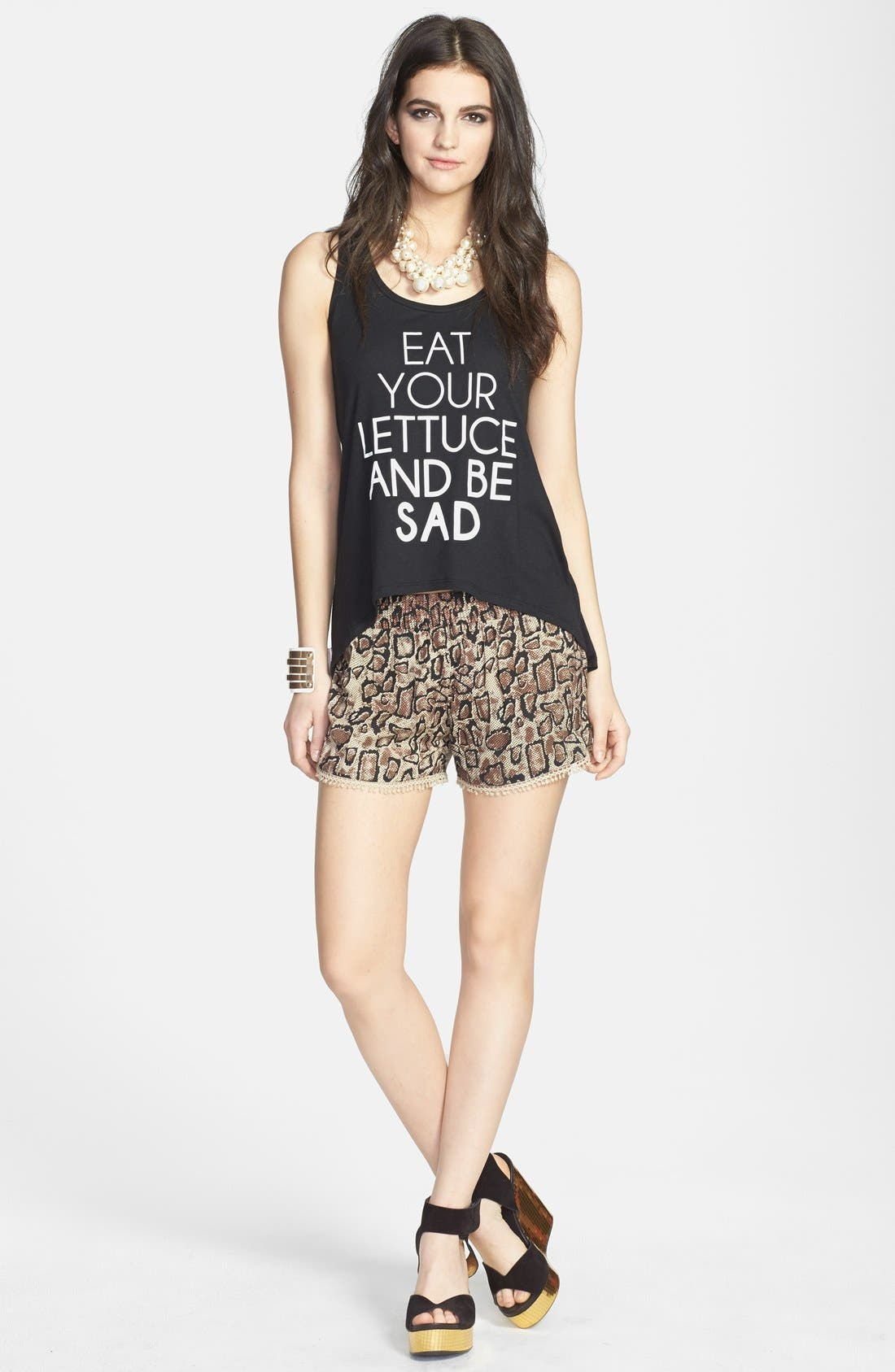 MADISON & BERKELEY,                             'Eat Your Lettuce and Be Sad' High/Low Tank,                             Alternate thumbnail 4, color,                             001