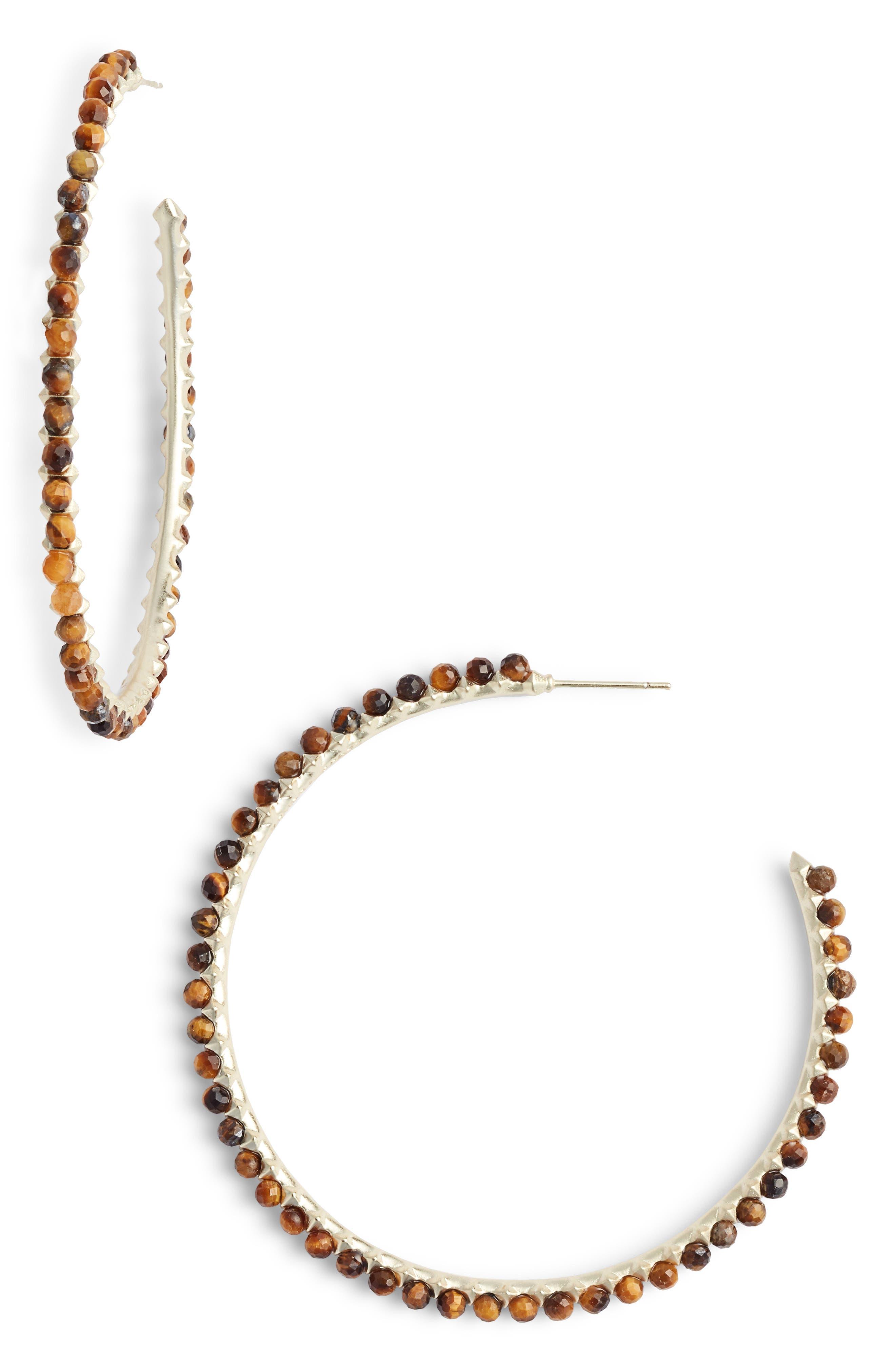 Birdie Earrings,                             Main thumbnail 1, color,                             BROWN TIGERS EYE/ GOLD