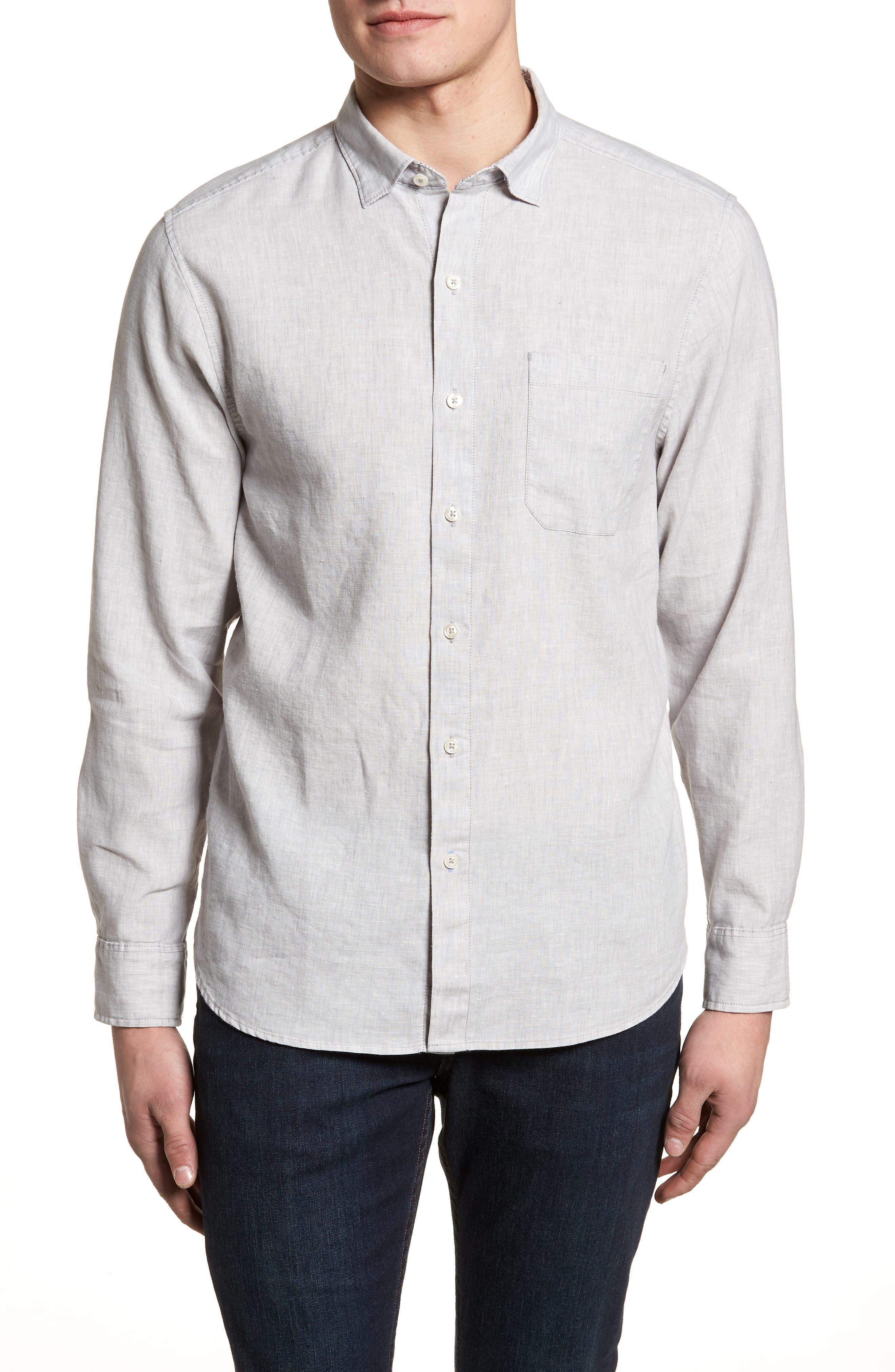 Lanai Tides Linen Blend Sport Shirt,                         Main,                         color, 020