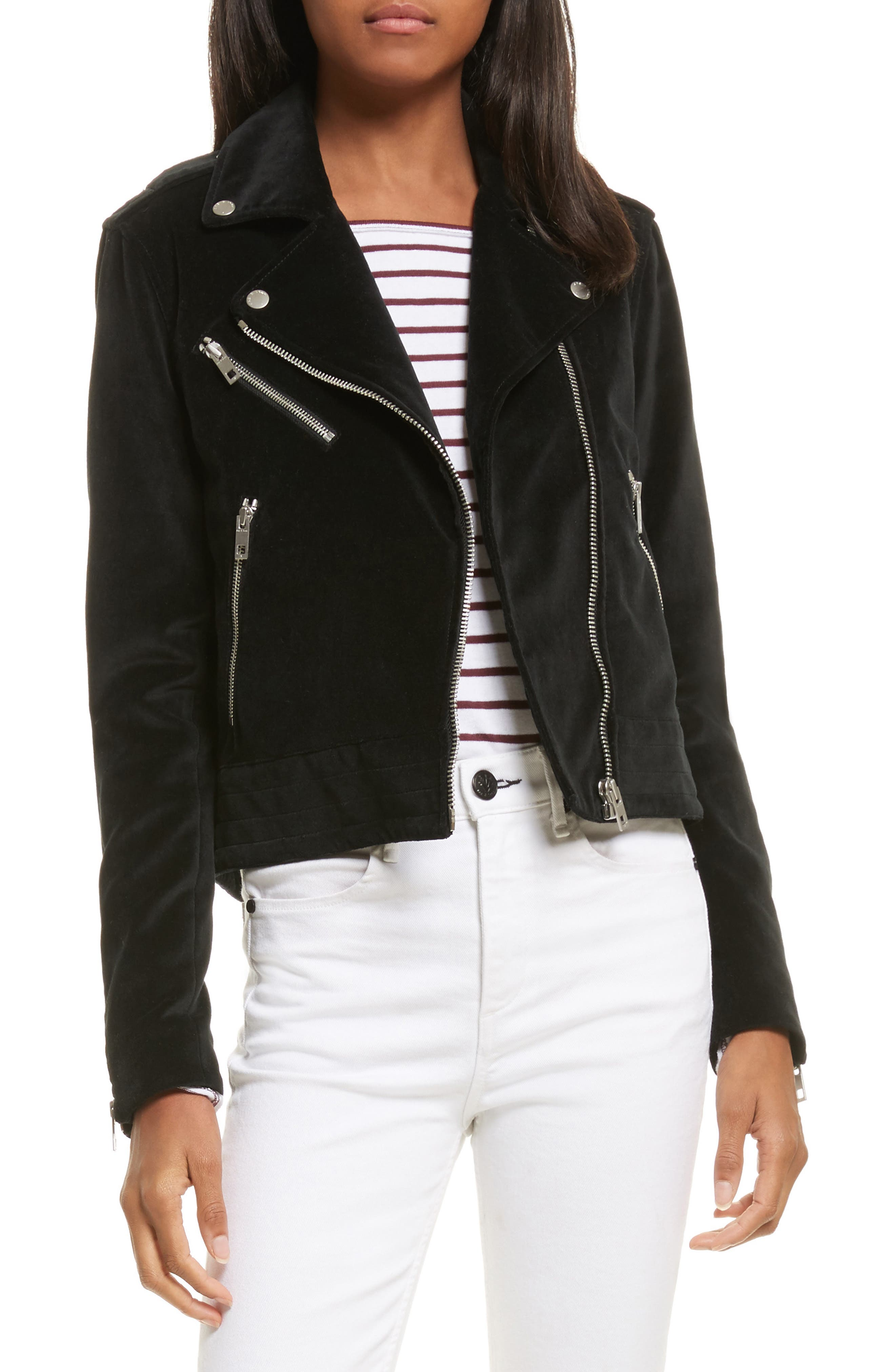 Mercer Velvet Moto Jacket,                             Main thumbnail 1, color,                             001