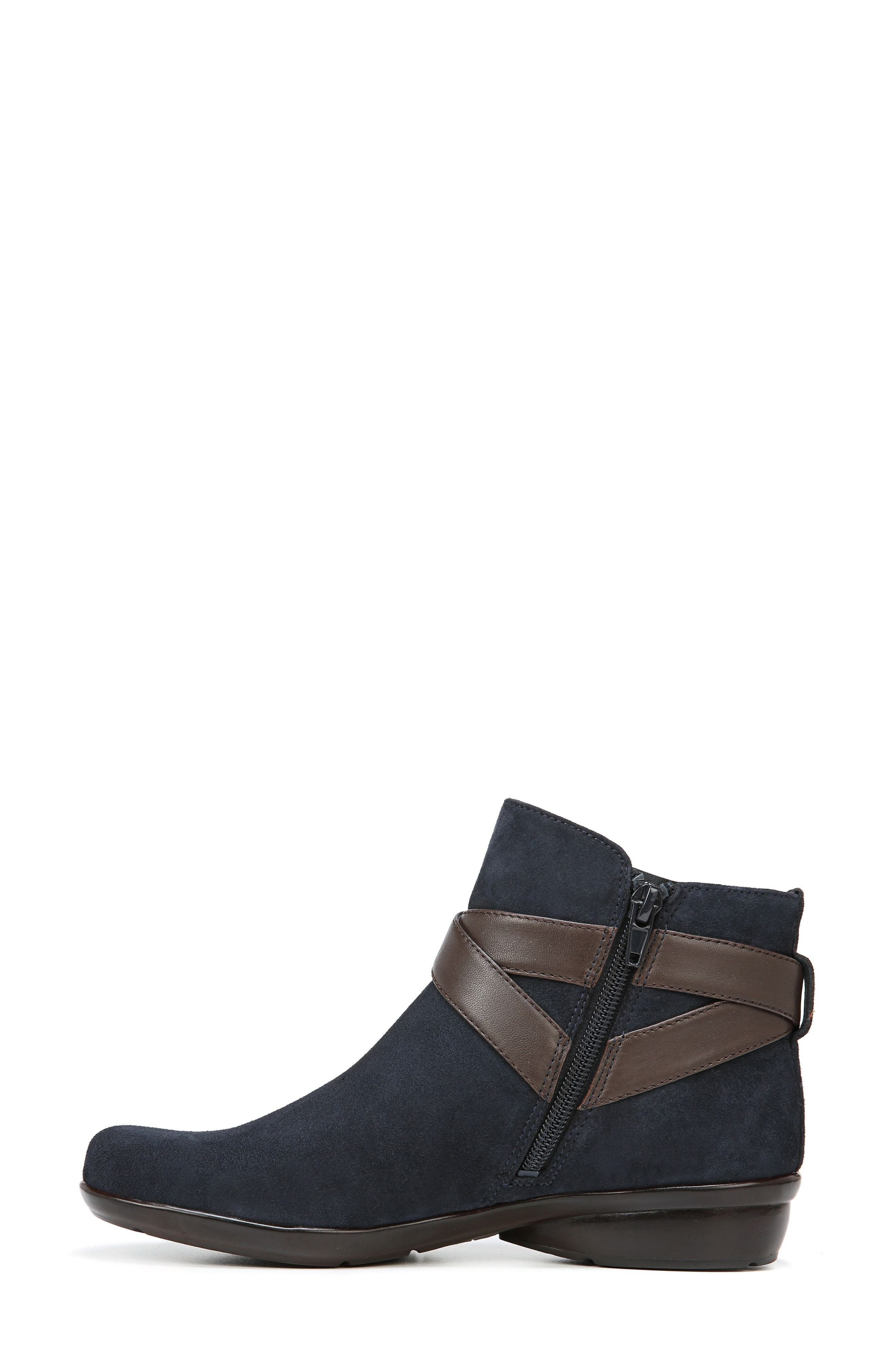 Cassandra Buckle Strap Bootie,                             Alternate thumbnail 8, color,                             NAVY/ BROWN SUEDE