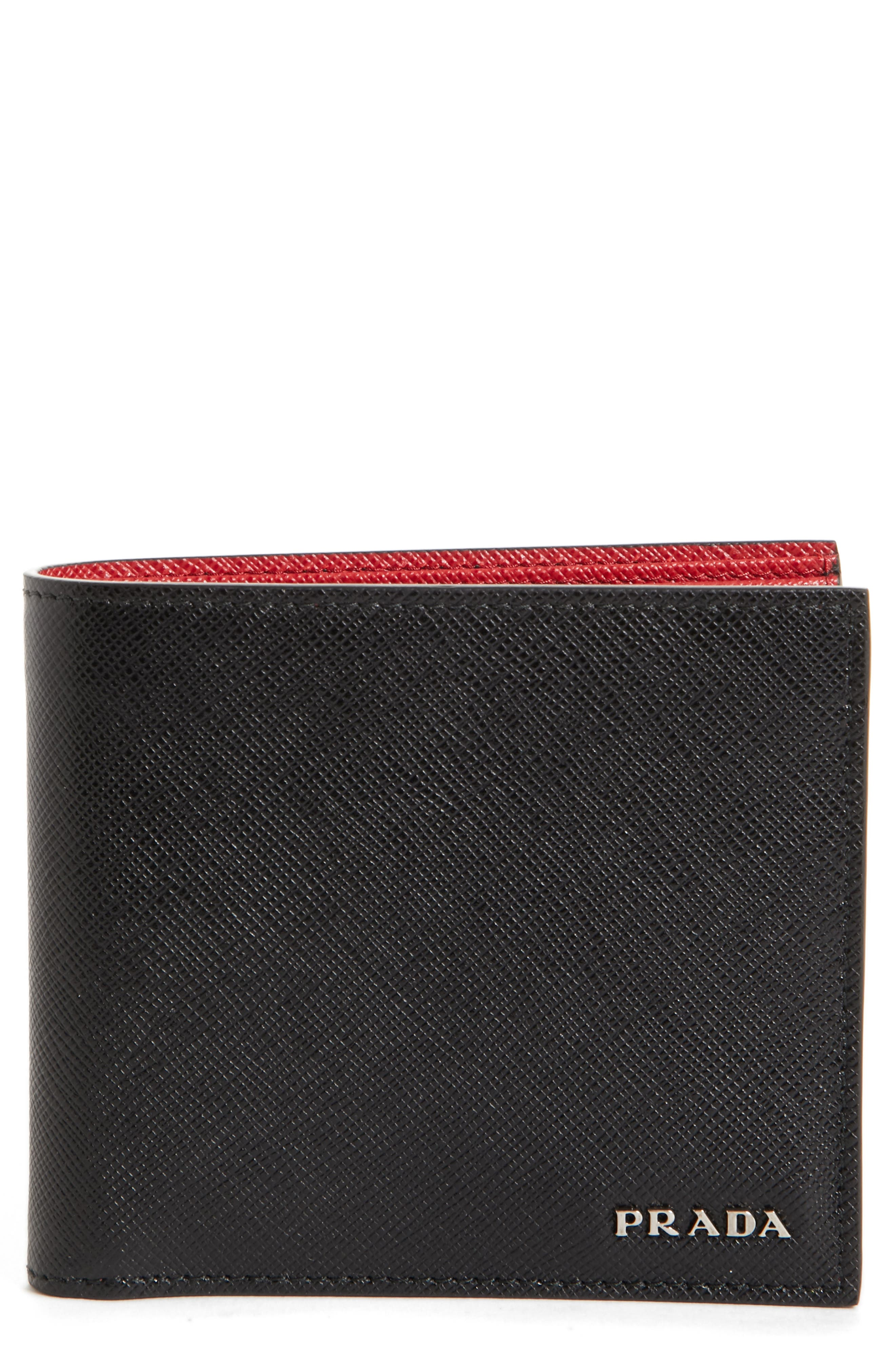 Bicolor Leather Wallet,                             Main thumbnail 1, color,                             001