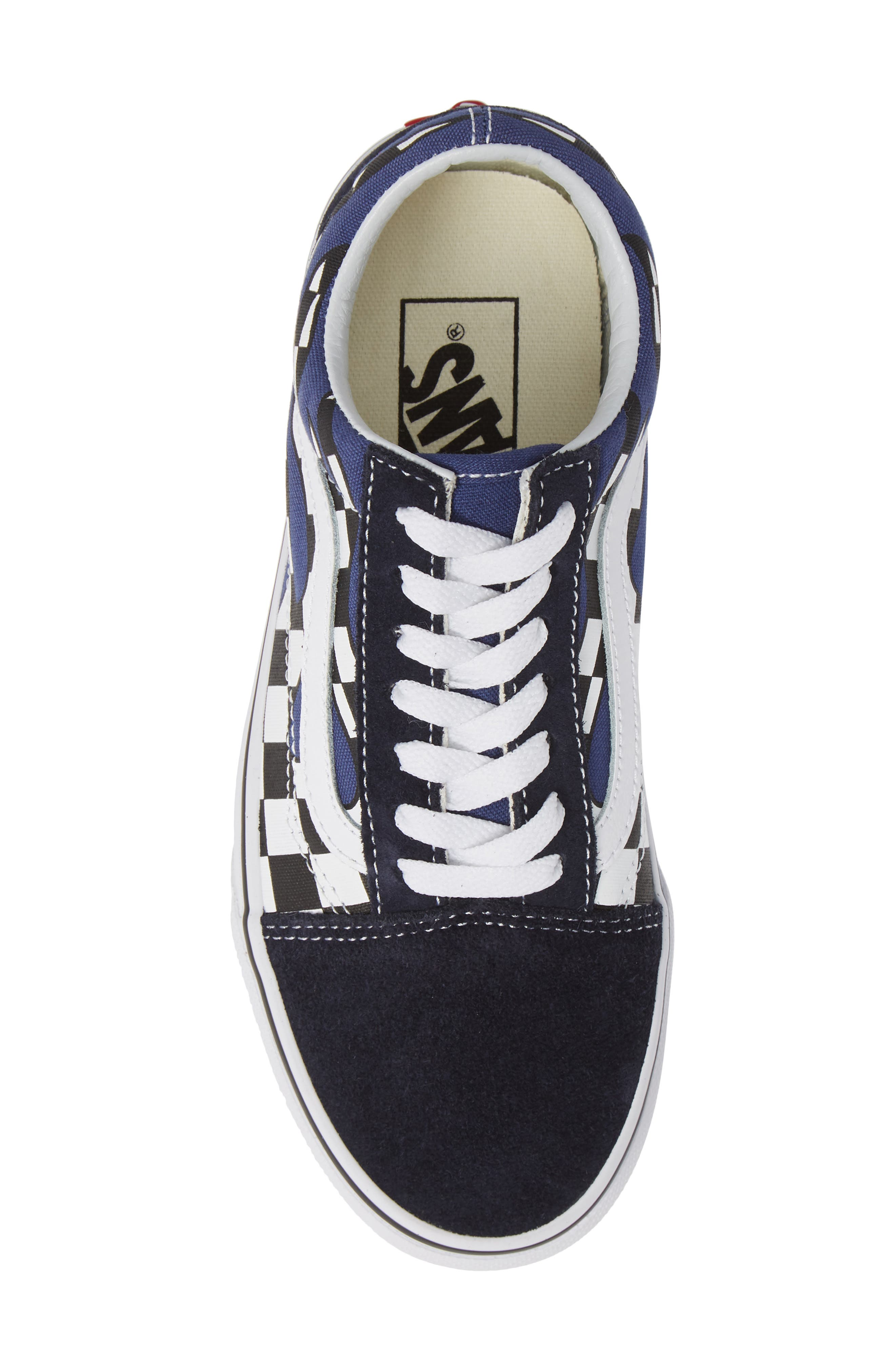 Old Skool Sneaker,                             Alternate thumbnail 5, color,                             NAVY/ TRUE WHITE LEATHER