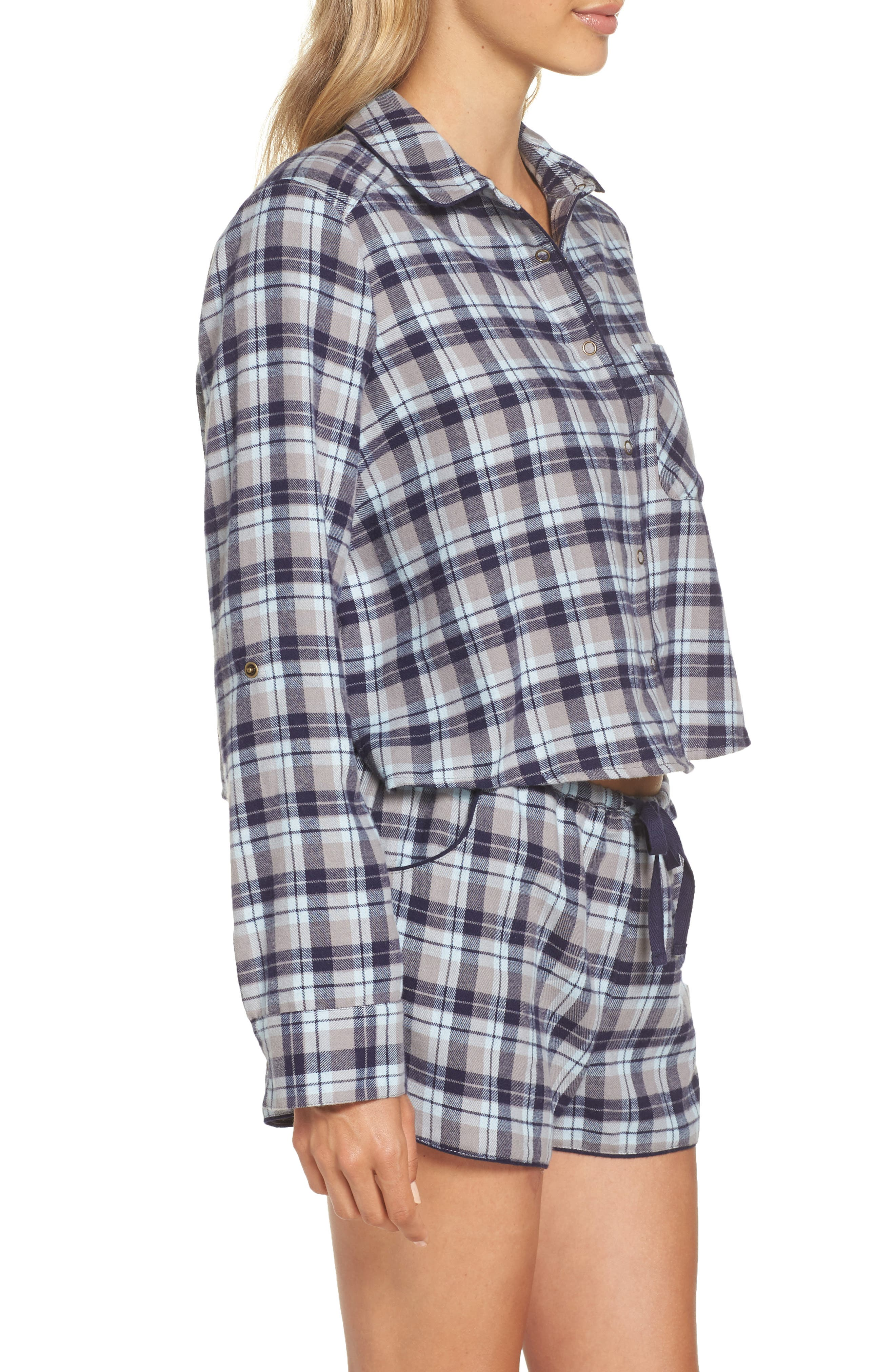 Crop Flannel Pajama Top,                             Alternate thumbnail 3, color,                             GREY FROST LUCY PLAID