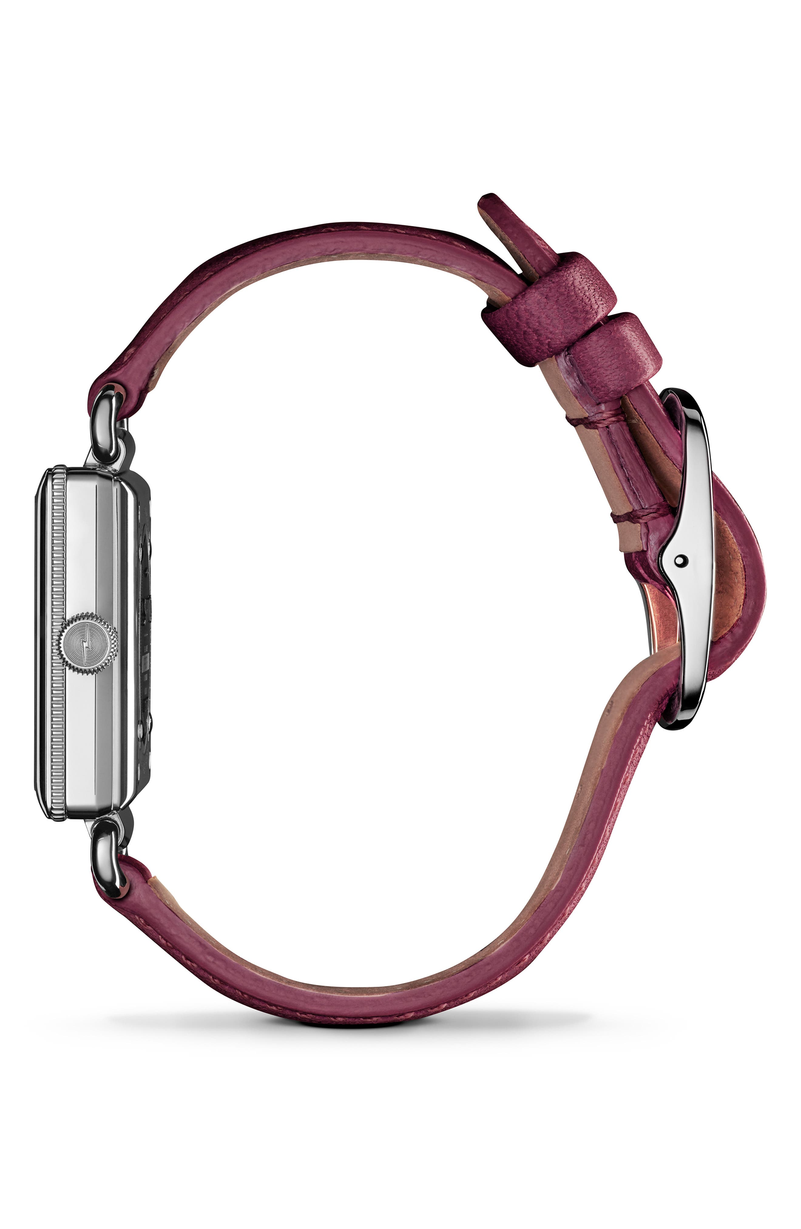 Cass Leather Strap Watch, 28mm,                             Alternate thumbnail 3, color,                             BERRY/ WHITE MOP/ SILVER