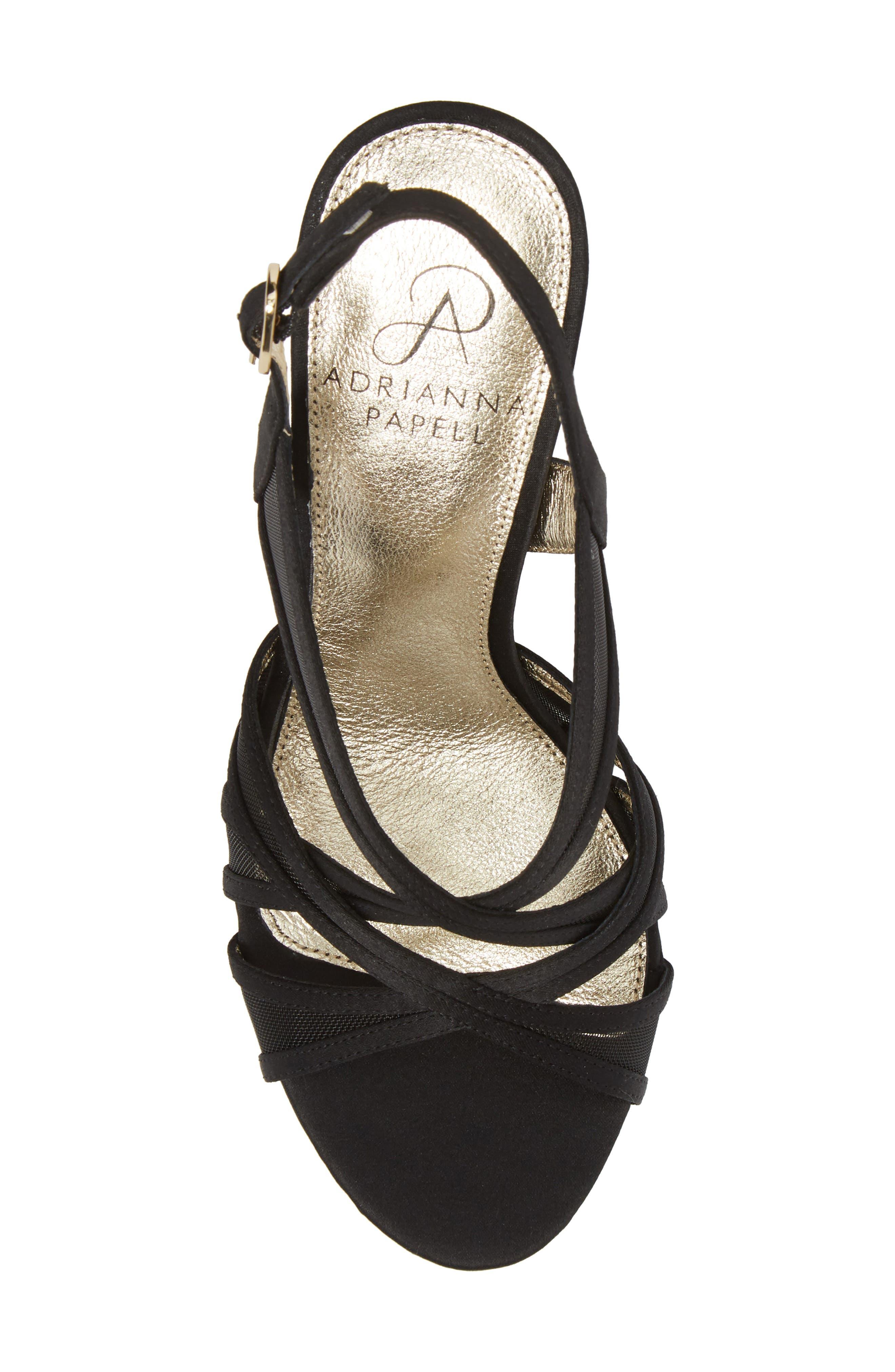 Adri Platform Sandal,                             Alternate thumbnail 5, color,                             BLACK SATIN