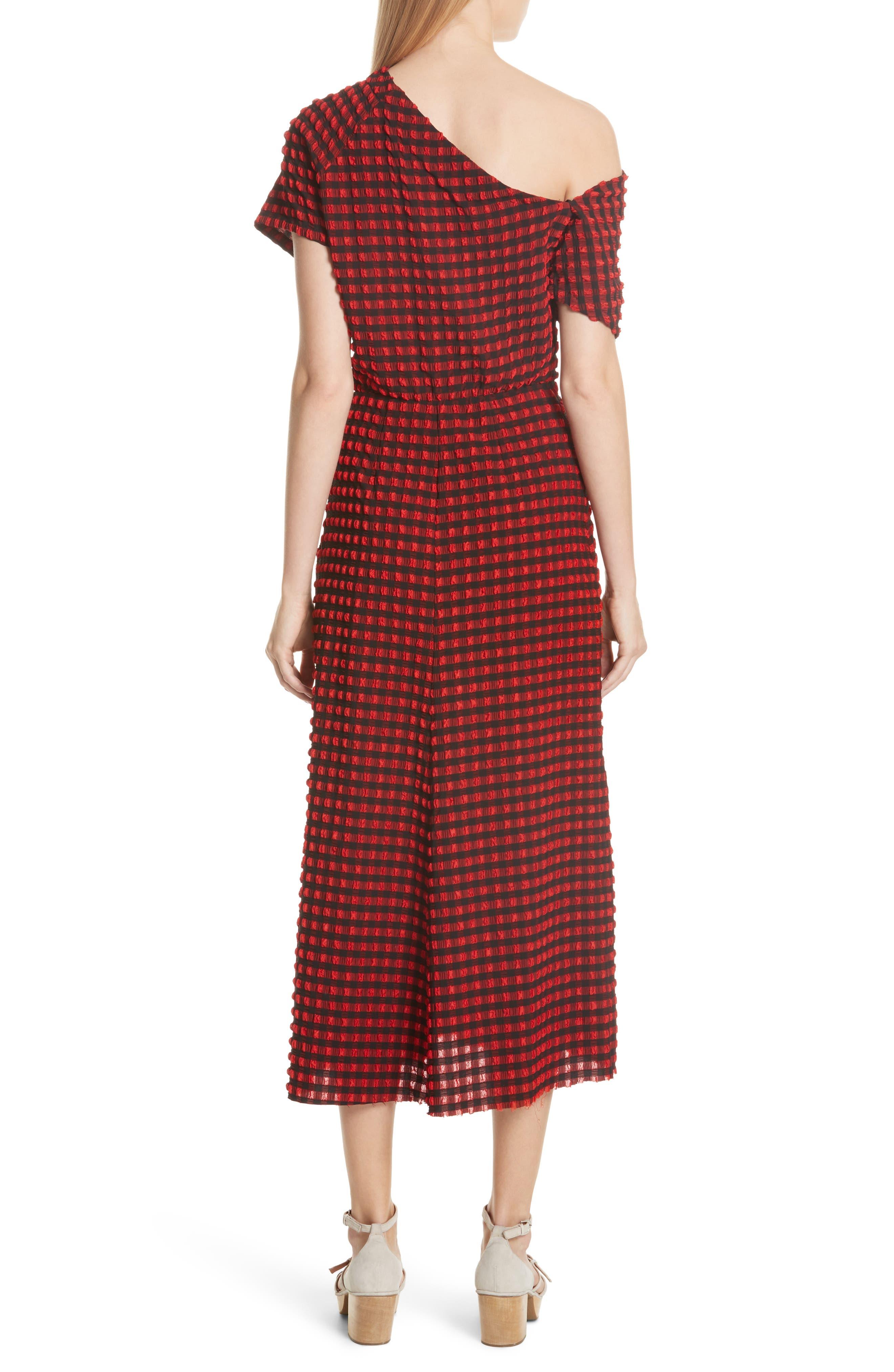 Pout Gingham One-Shoulder Midi Dress,                             Alternate thumbnail 2, color,                             640
