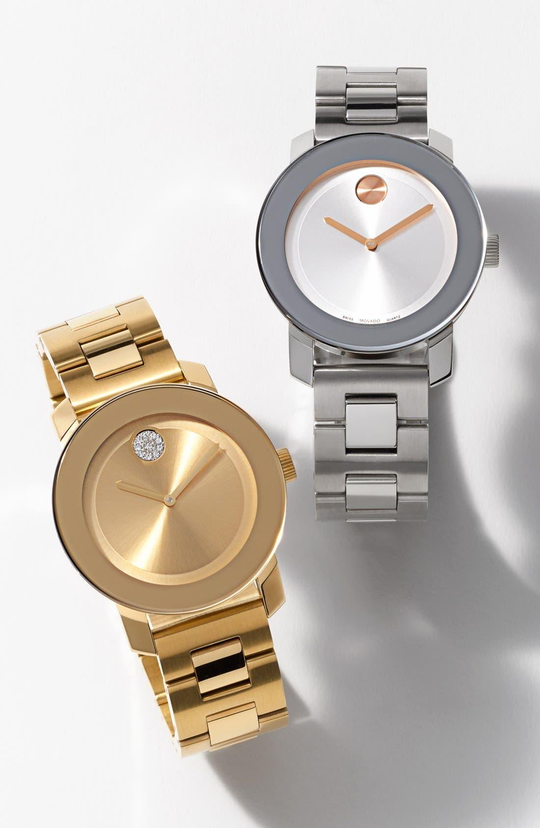 'Bold' Round Bracelet Watch, 36mm,                             Alternate thumbnail 7, color,                             SILVER