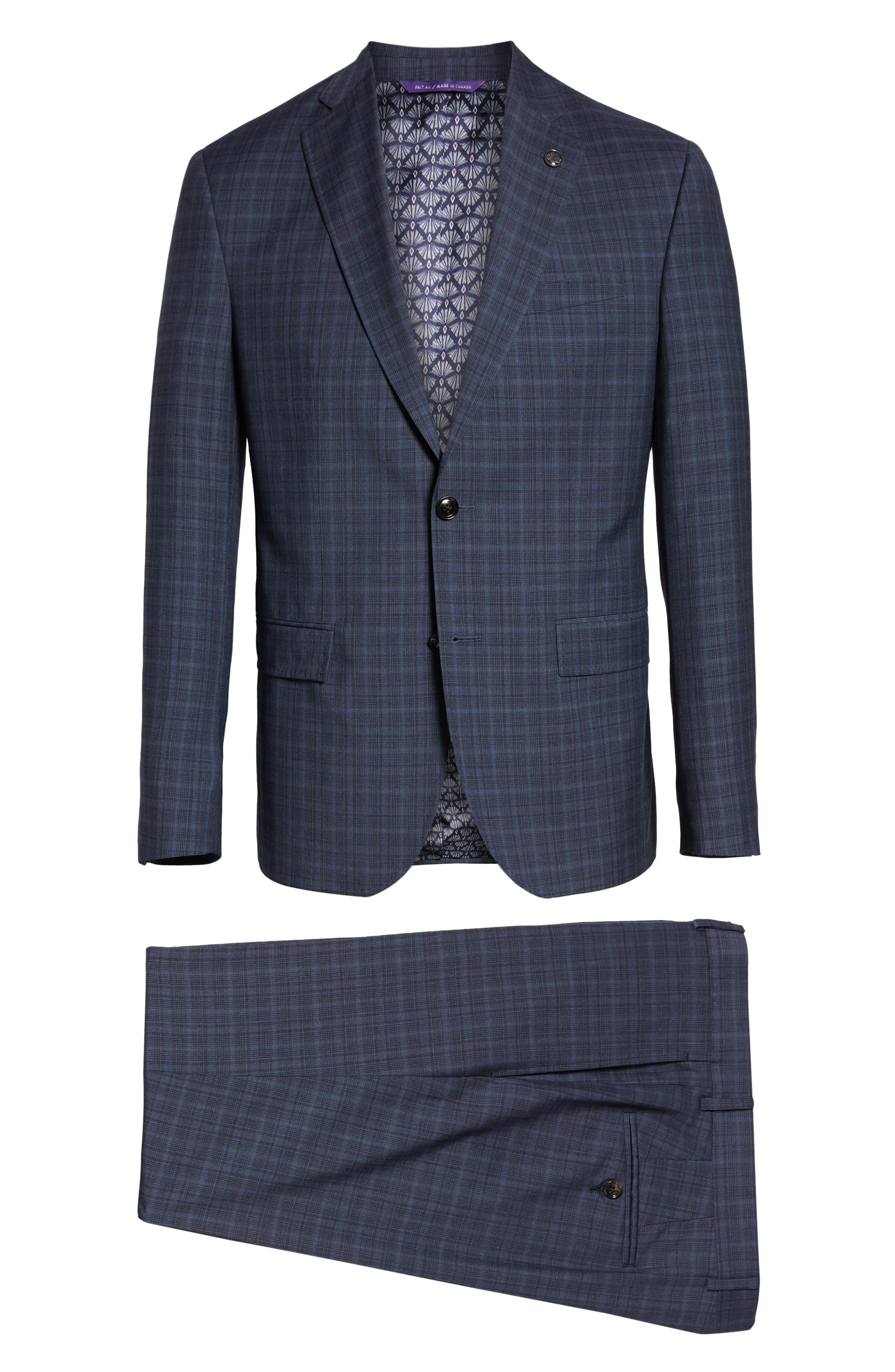 TED BAKER LONDON,                             Roger Slim Fit Plaid Wool Suit,                             Alternate thumbnail 8, color,                             GREY