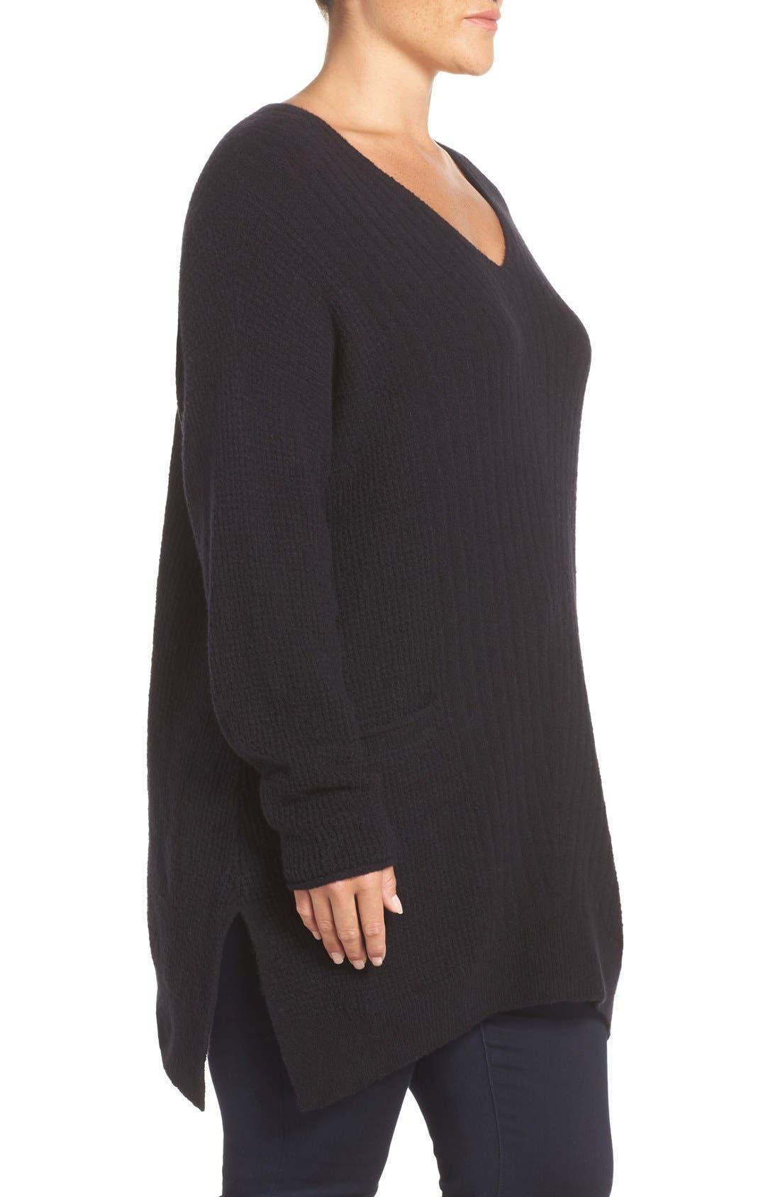 Mixed Stitch V-Neck Tunic Sweater,                             Alternate thumbnail 3, color,                             001