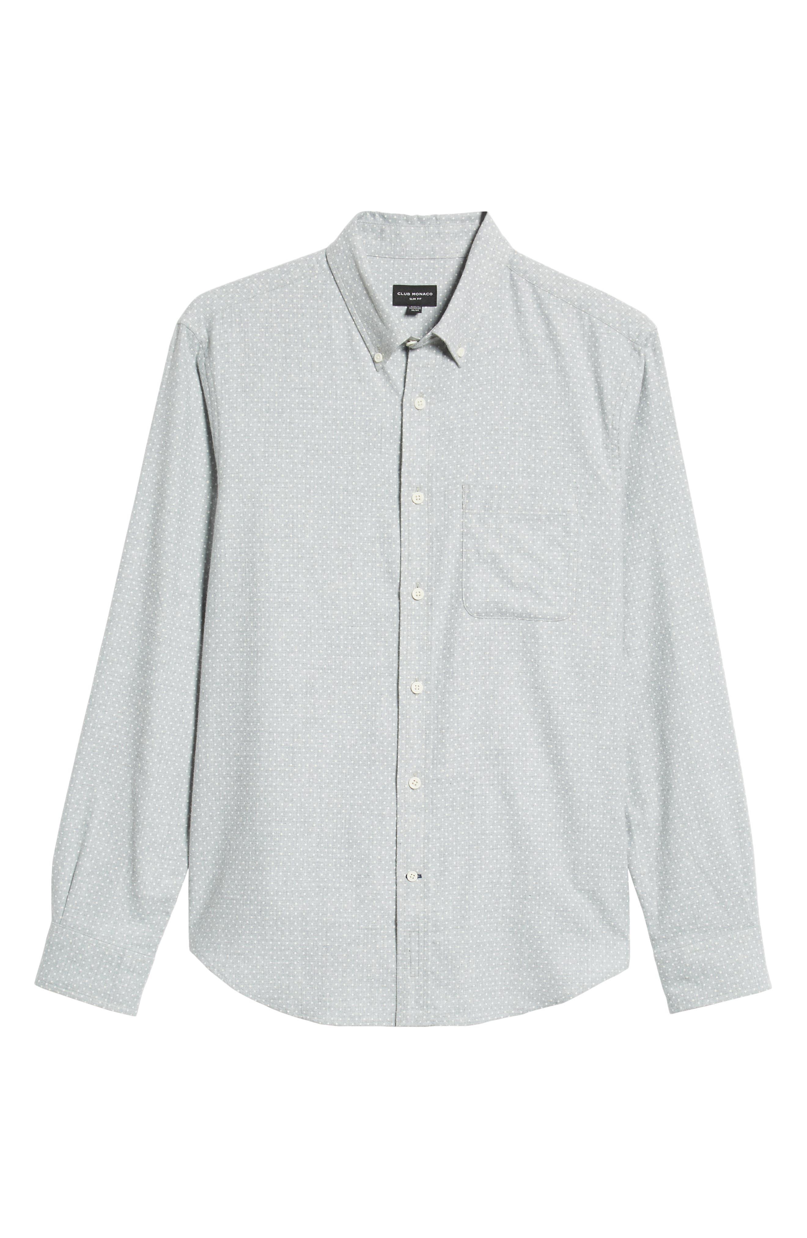 Polka Dot Cotton Flannel Sport Shirt,                             Alternate thumbnail 5, color,                             030