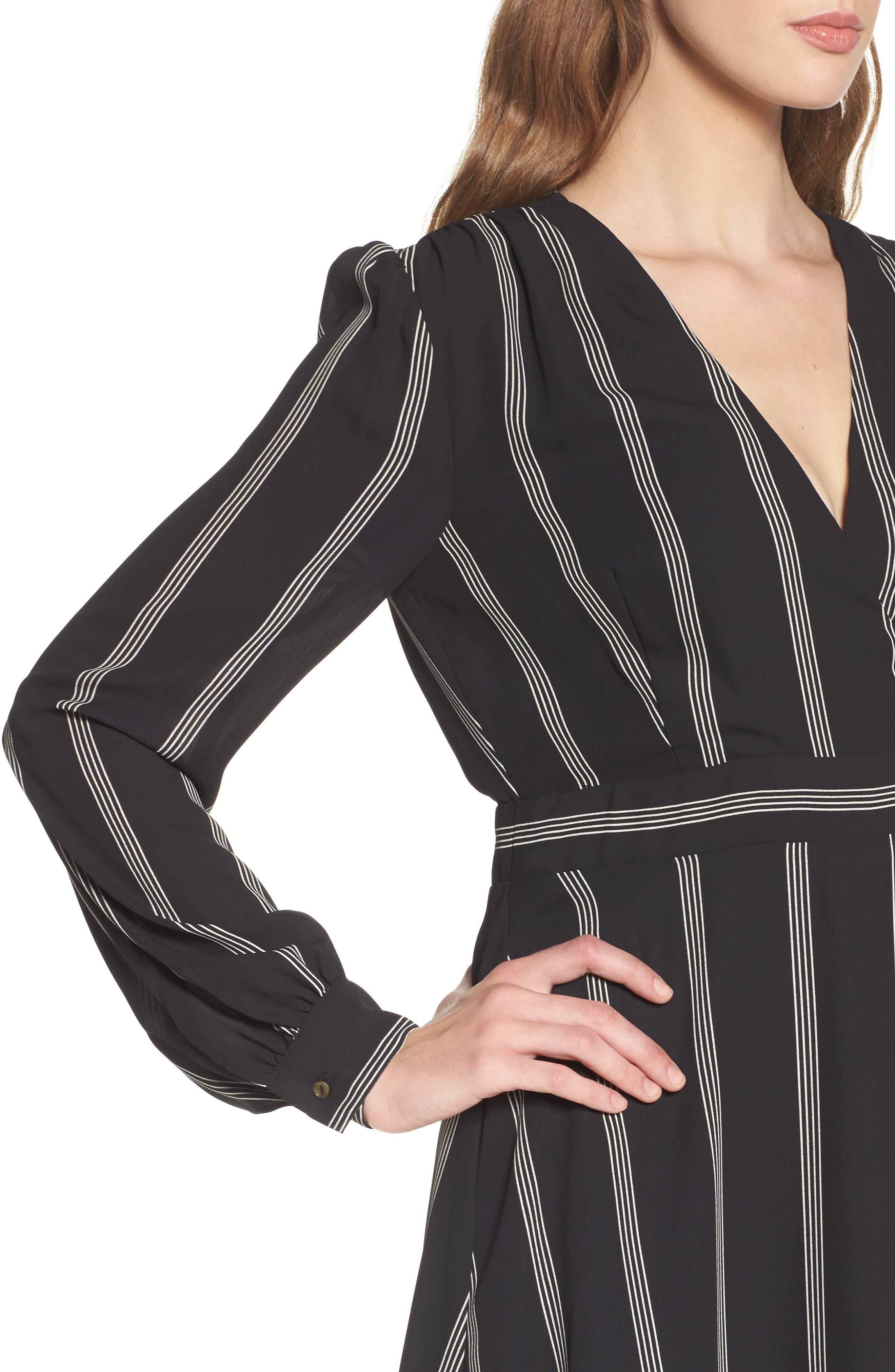Stripe Fit & Flare Dress,                             Alternate thumbnail 4, color,                             002