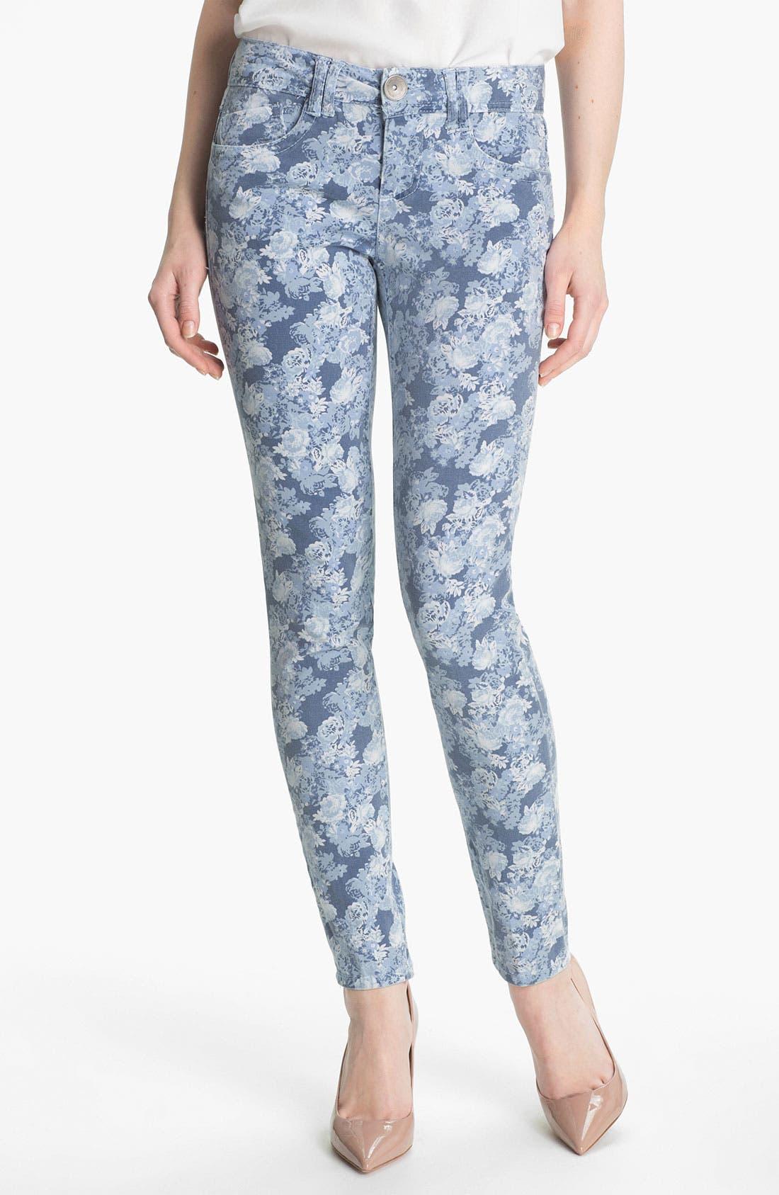 Floral Print Skinny Jeans,                             Main thumbnail 2, color,