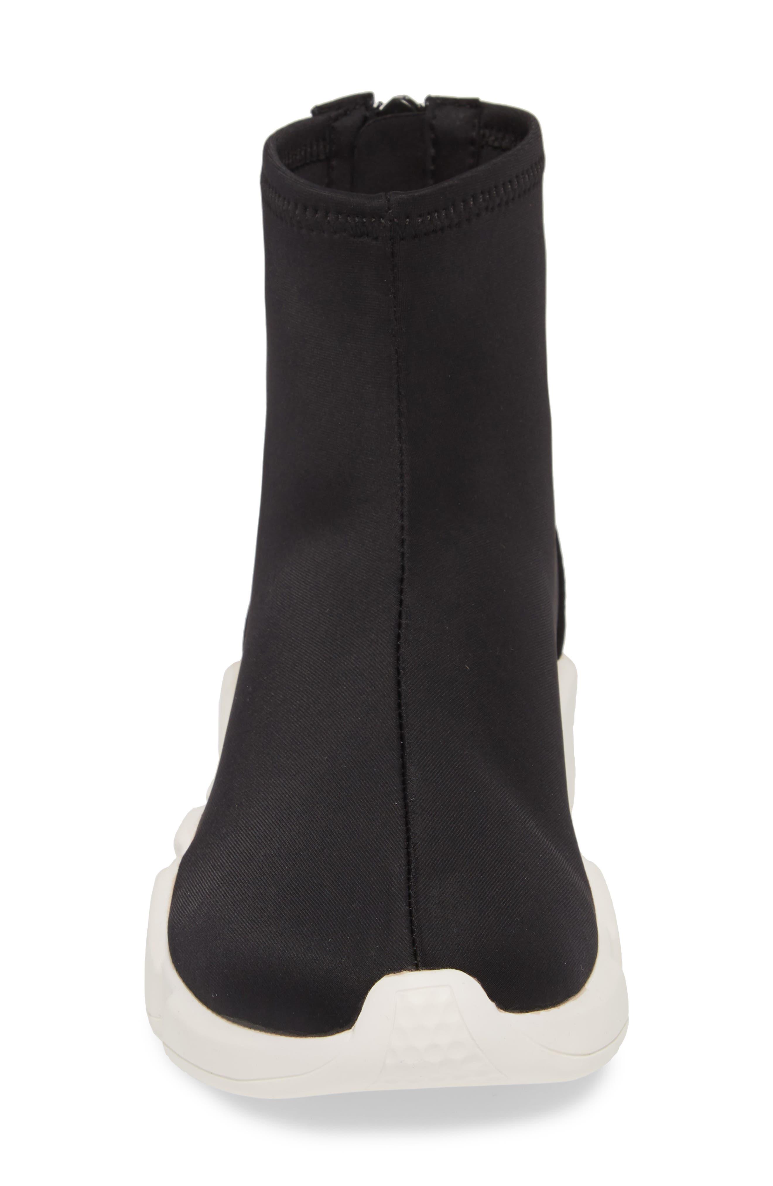 Sock Sneaker,                             Alternate thumbnail 4, color,                             BLACK / WHITE